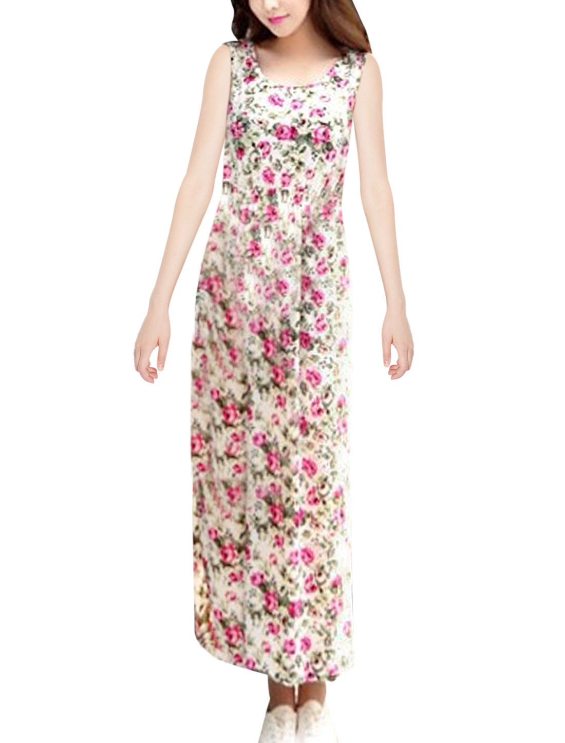 Ladies Scoop Neck Floral Prints Full-Length Sweet Tank Dress Fuchsia White S