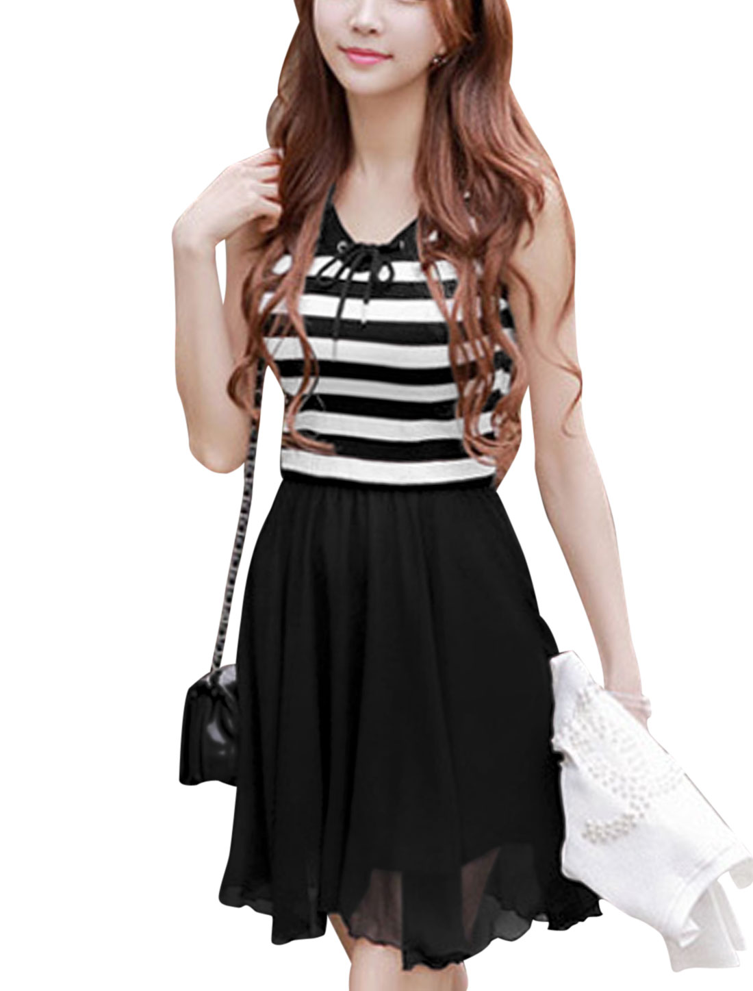 Lady Drawcord Neckline Stripes Stretch Waist Sweet Tank Dress Black M