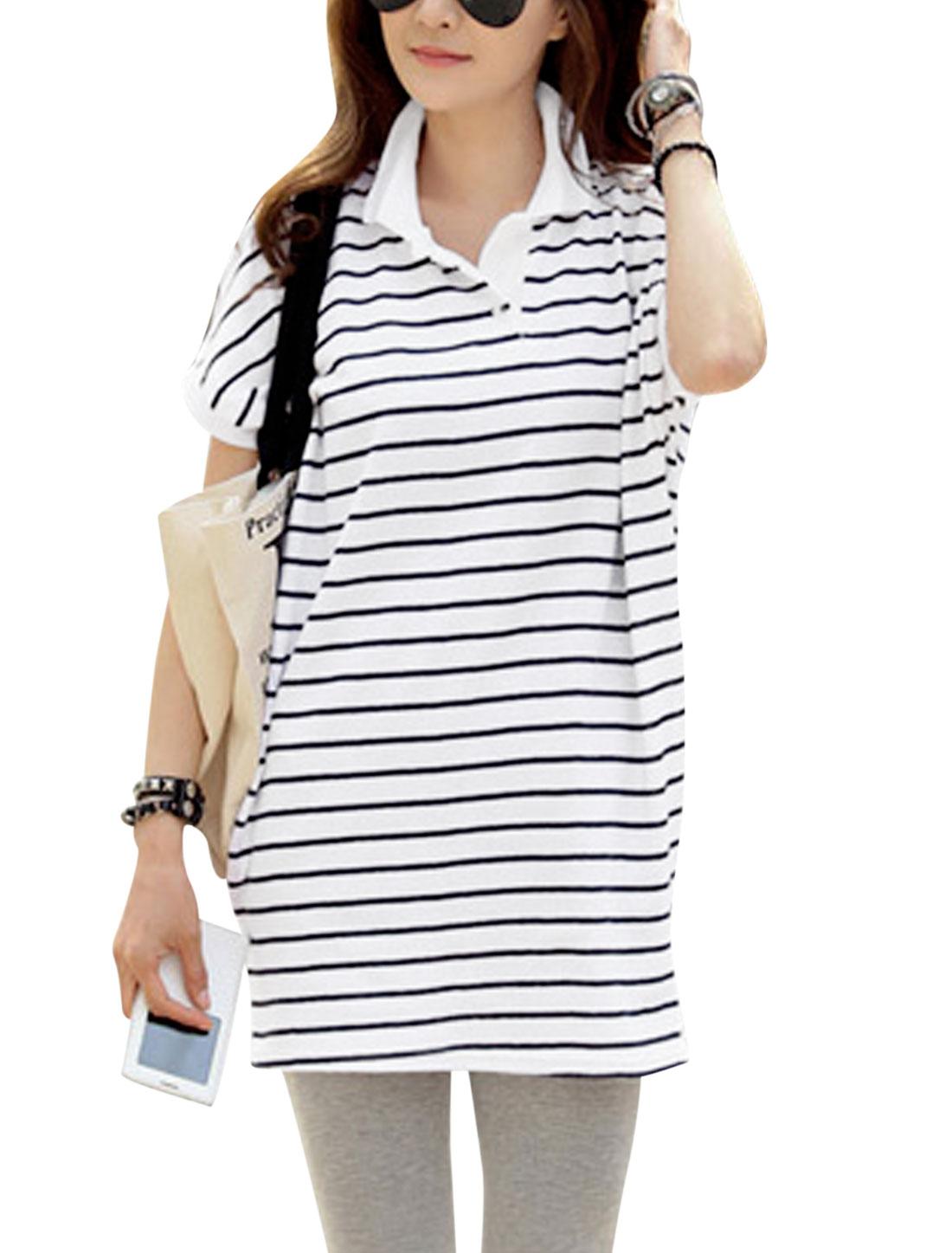 Women Rib Knit Point Collar Short Batwing Sleeve Tunic T-Shirt Black White S