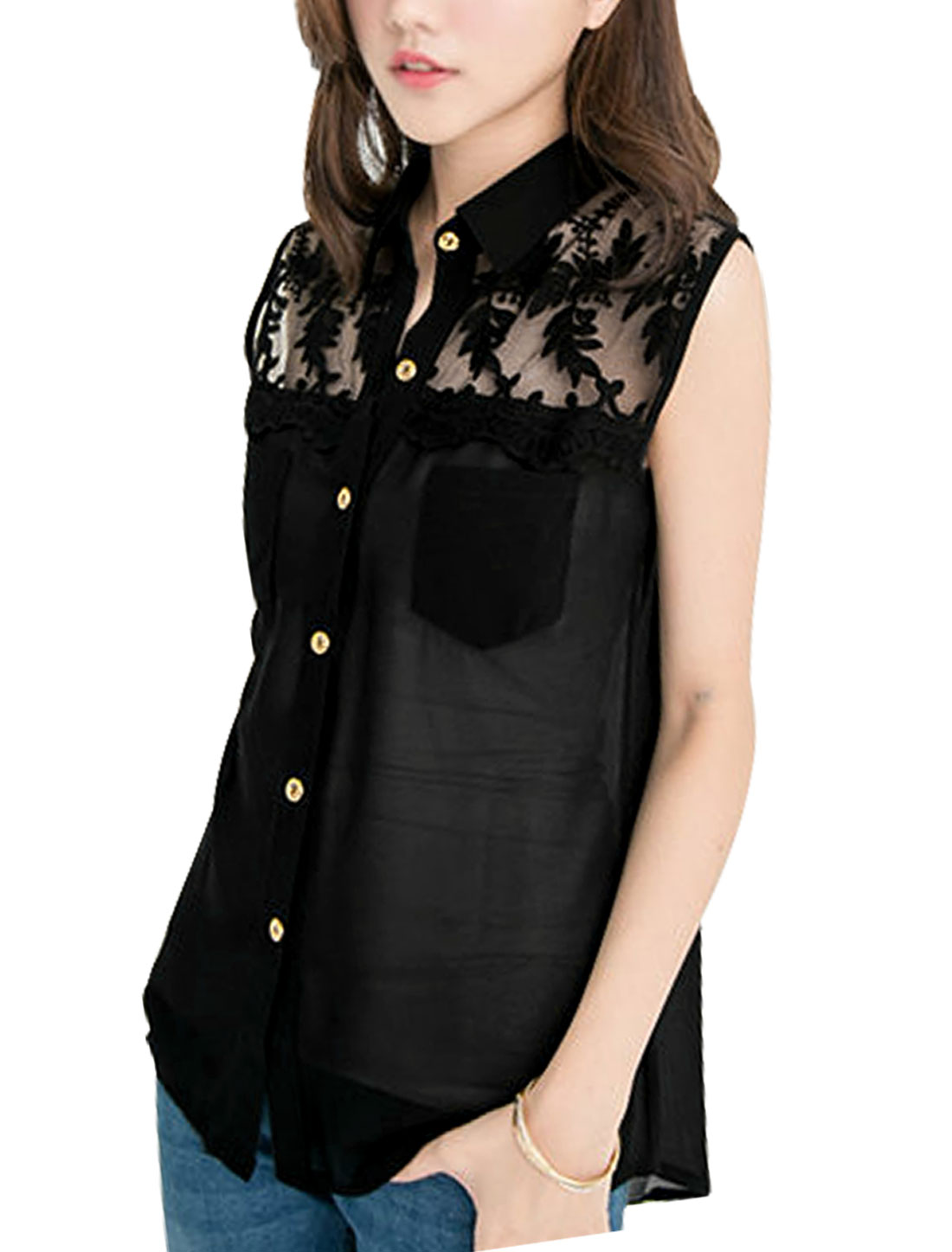 Women Point Collar Mesh Patching Sheerness Sweet Chiffon Top Shirt Black XS