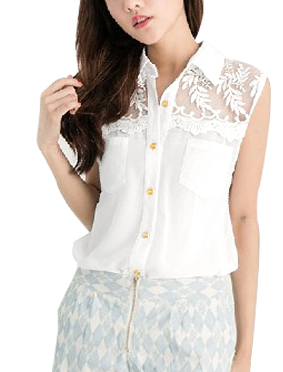 Lady Leaf Embroidery Mesh Patching Sleeveless Sweet Chiffon Top Shirt White XS