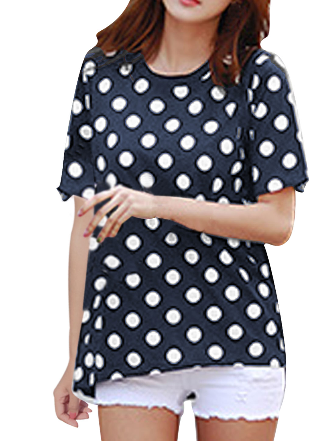 Women Round Neck Short Sleeve Dots Prints Dark Blue XS Tee Shirt