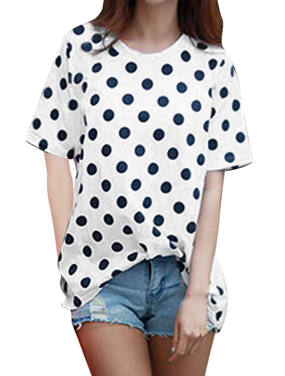 Lady's Polka Dots Prints Short Sleeve Pullover T-Shirt White XS