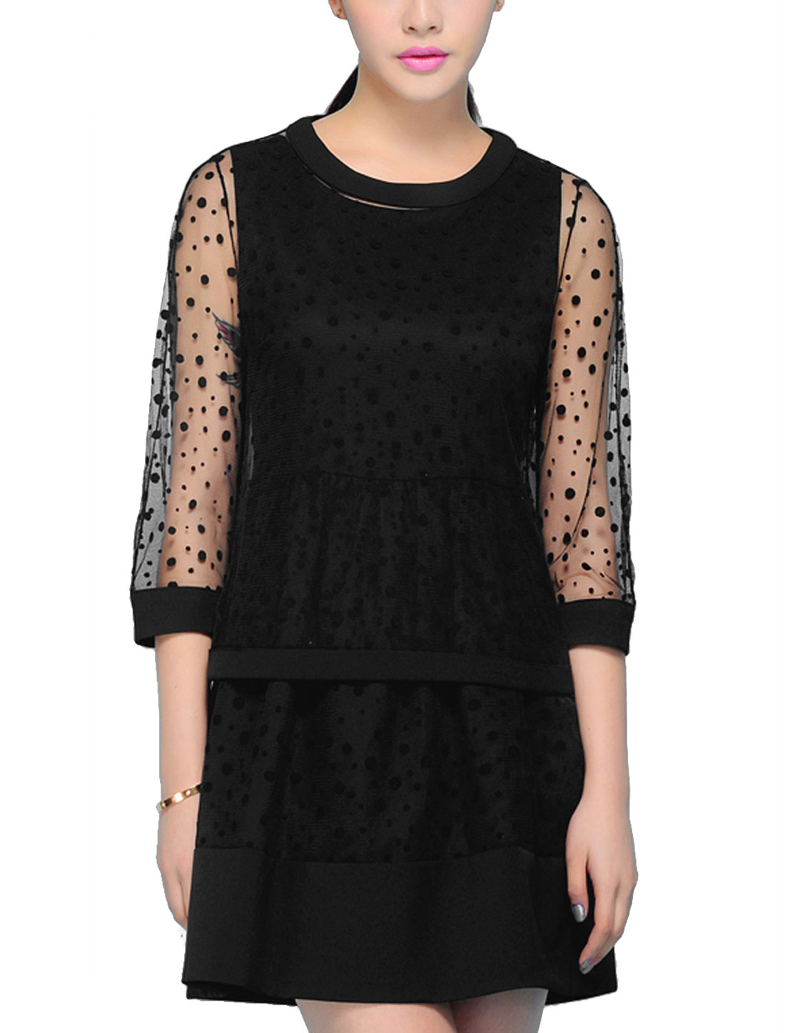 Lady Sleeveless Round Neck Black Dress w Elastic Loop Closure Dots Lace Black Top S