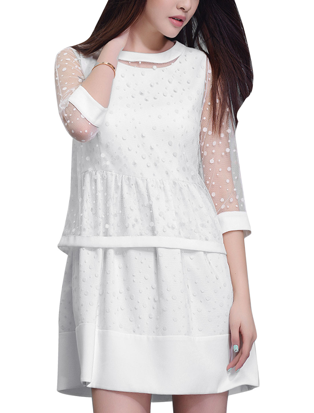 Sleeveless Hidden Side Zipper Dress w Button Loop Closure White S Lace Top for Lady
