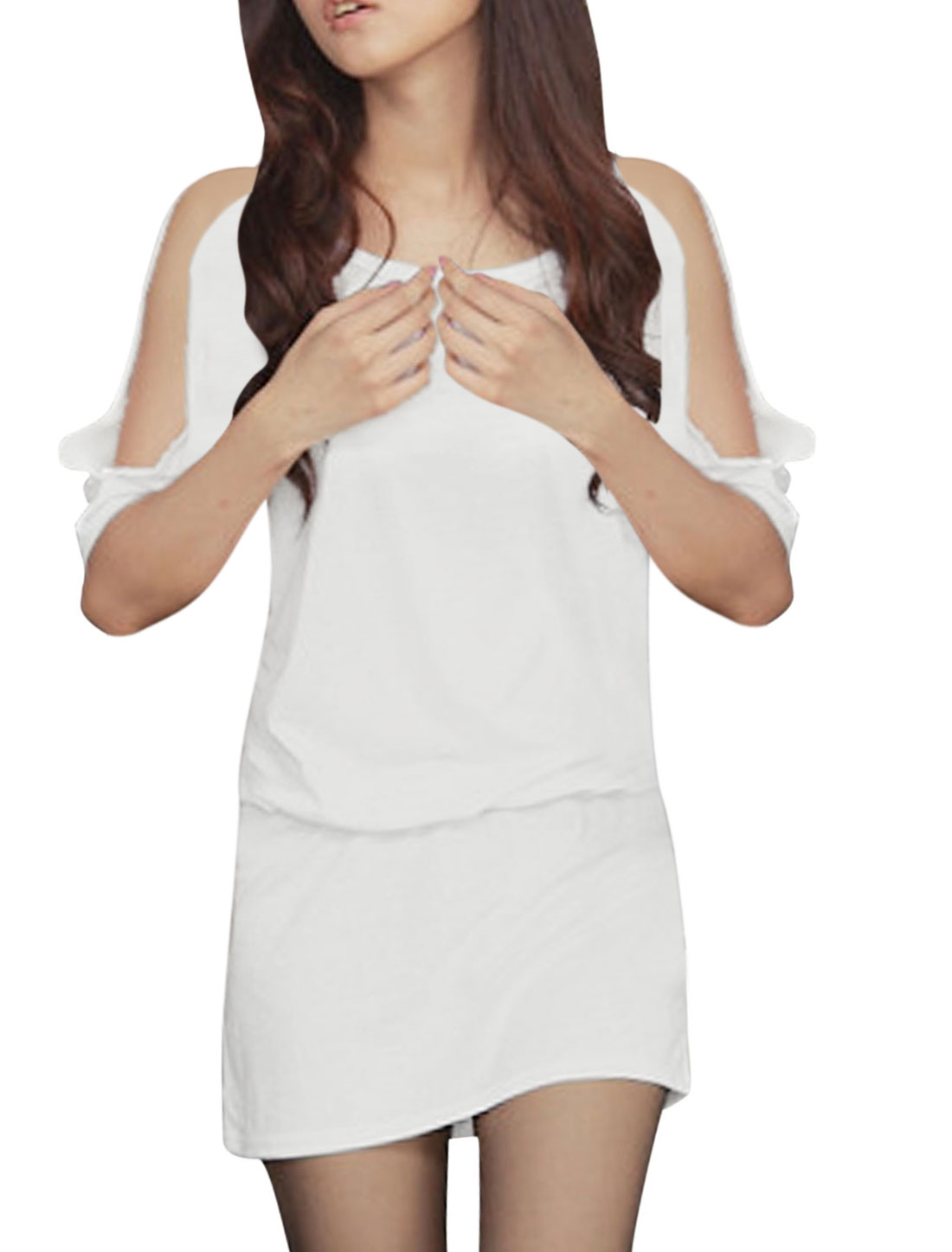 Lady Round Neck Short Sleeve Elastic Waist Blouson Dress White S