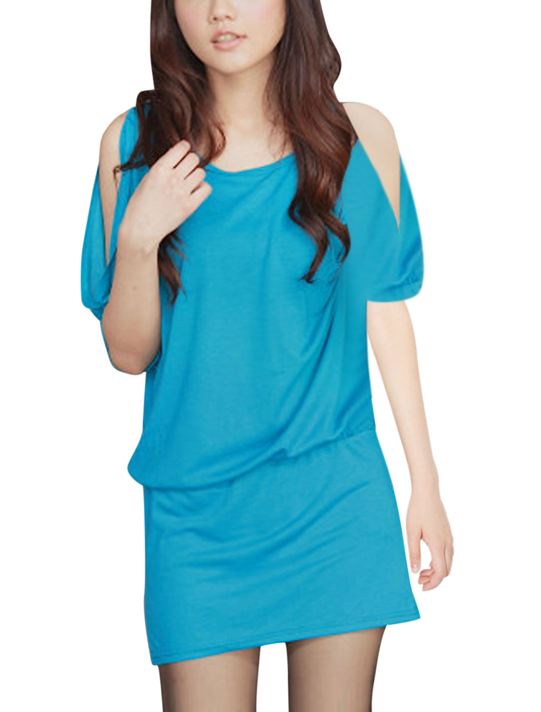 Woman Round Neck Cold Shoulder Short Sleeve Elastic Waist Blouson Dress Blue S