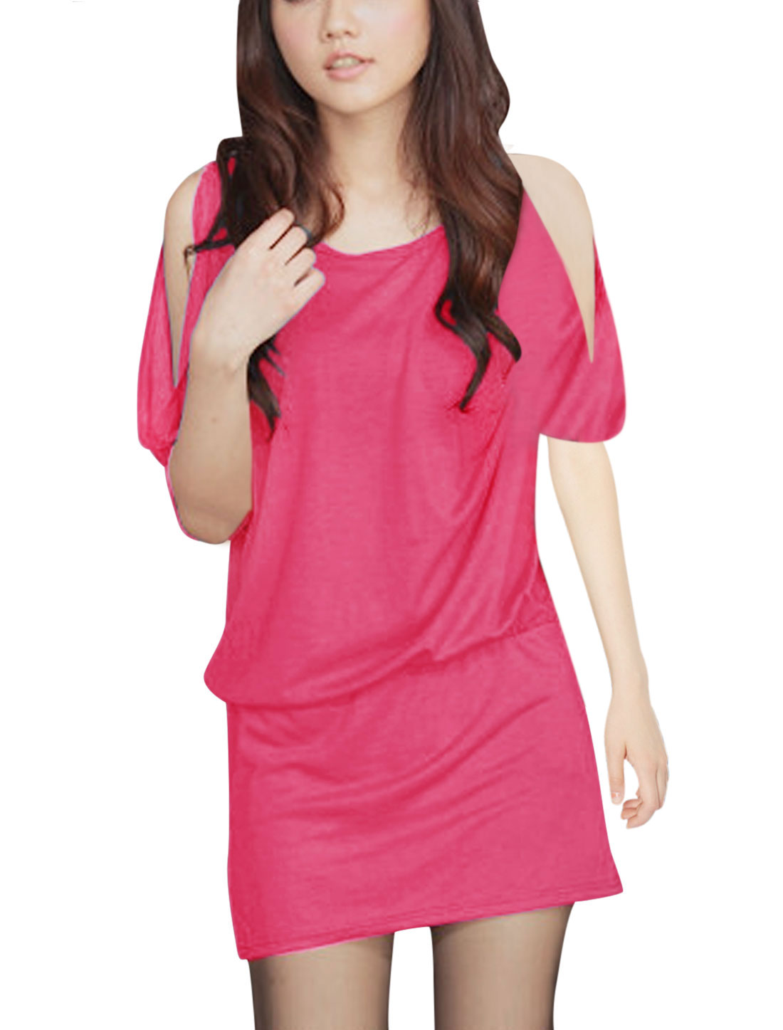 Lady's Round Neck Cut out Shoulder Elastic Waist Blouson Dress Fuchsia S