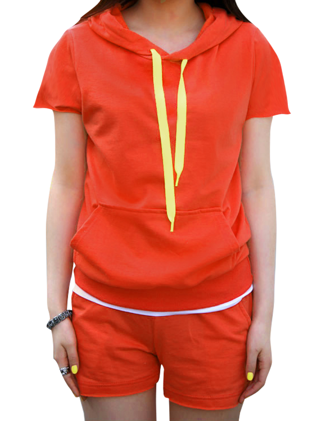 Lady Chic Single Pocket Hooded Top w Elastic Waist Shorts Orange-red XS