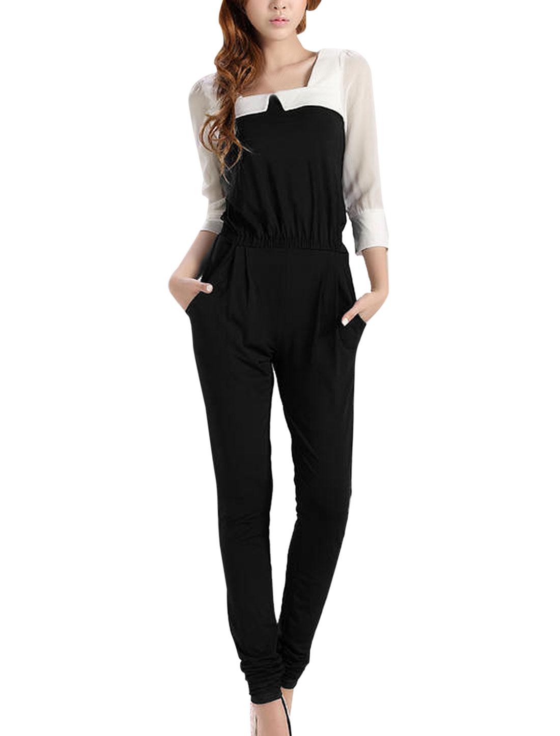 Lady Square Neckline 3/4 Sleeve Elastic Waist Jumpsuit Black S