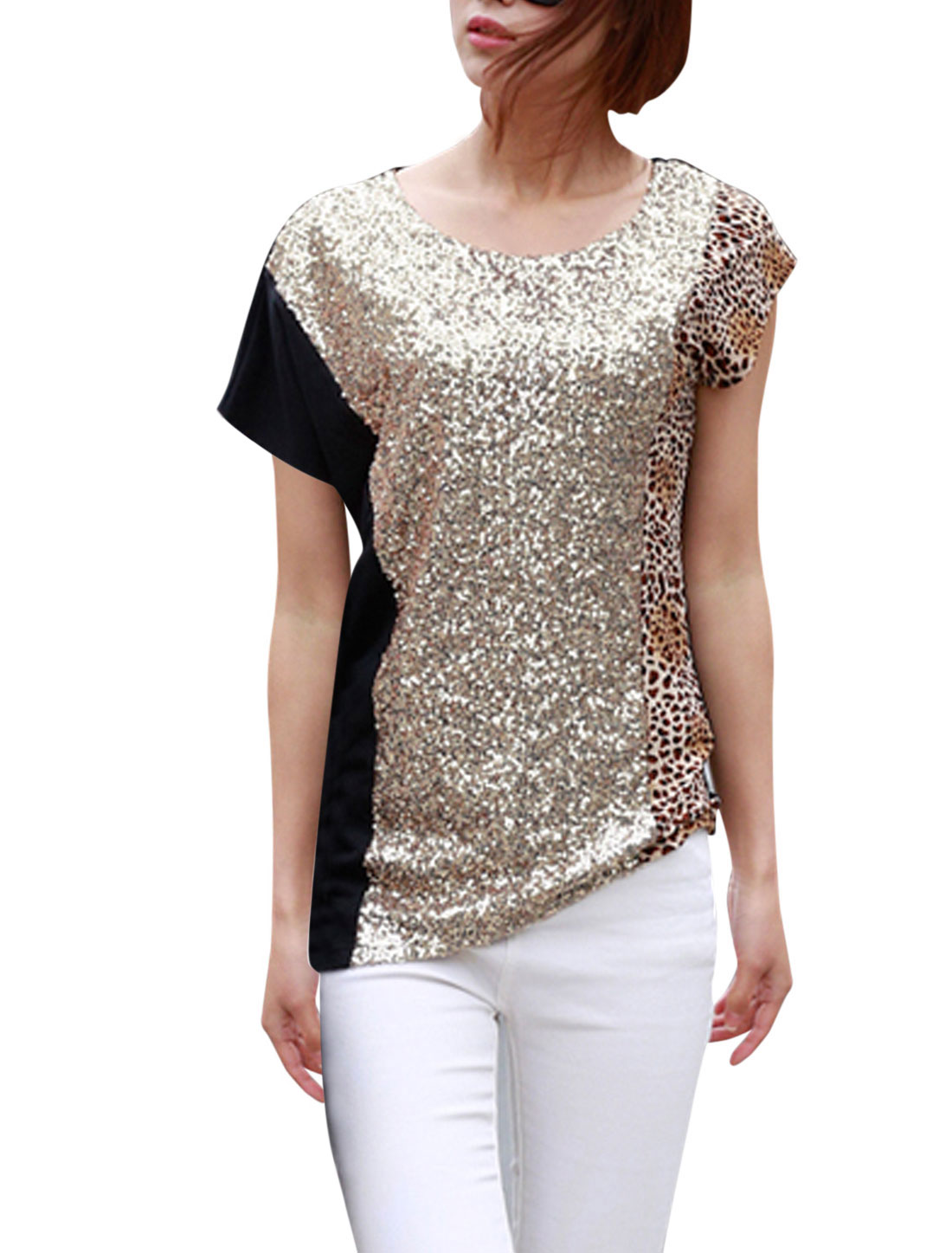 Woman's Paillette-embellished Leopard Prints Asymmetric Hem Casual Tee Shirt Black S