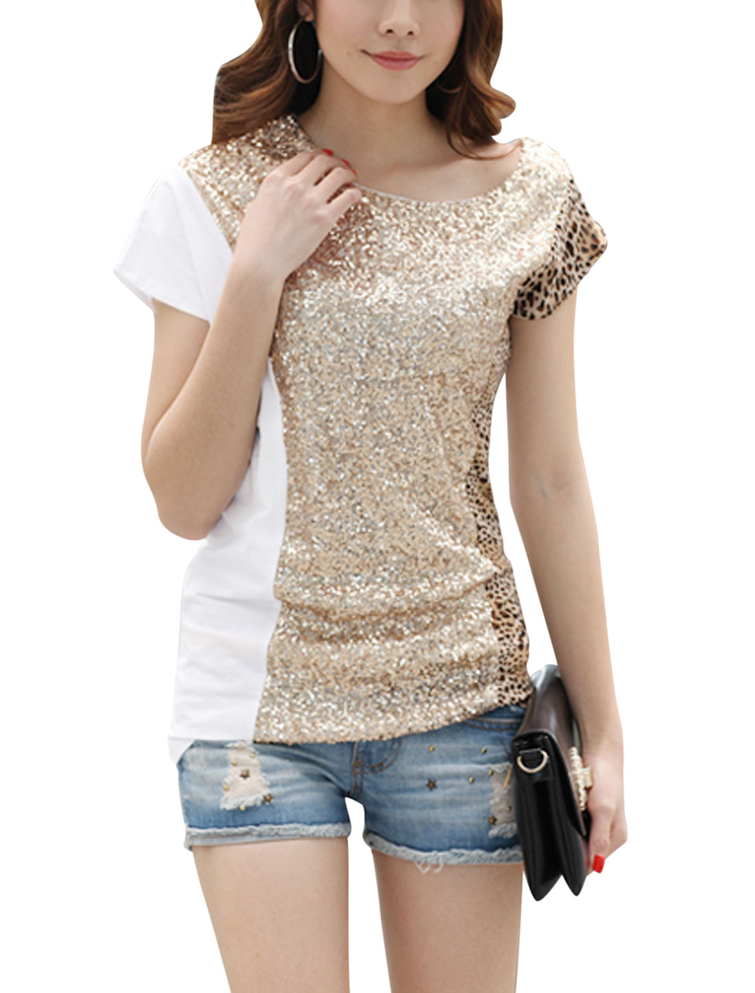 Lady Sequined Leopard Prints Asymmetric Neckline Short Sleeve T Shirt White S