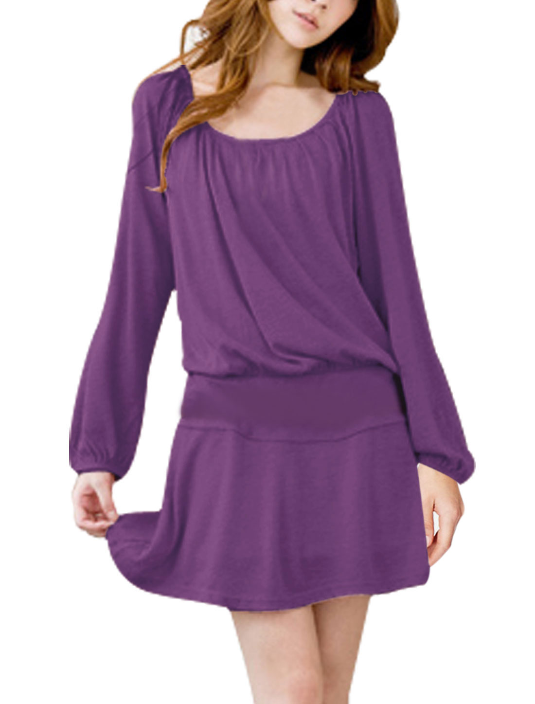 Women Stretchy Waist Raglan Design Sweet Dress w Belt Dark Purple M