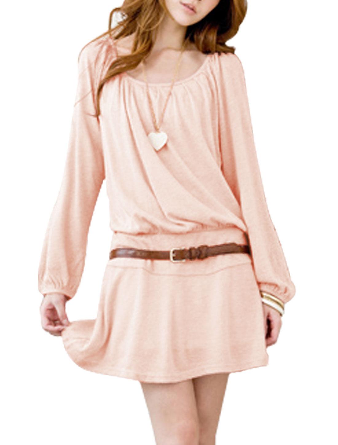 Women Stretchy Waist Scoop Neck Sweet Dress w Belt Light Pink M