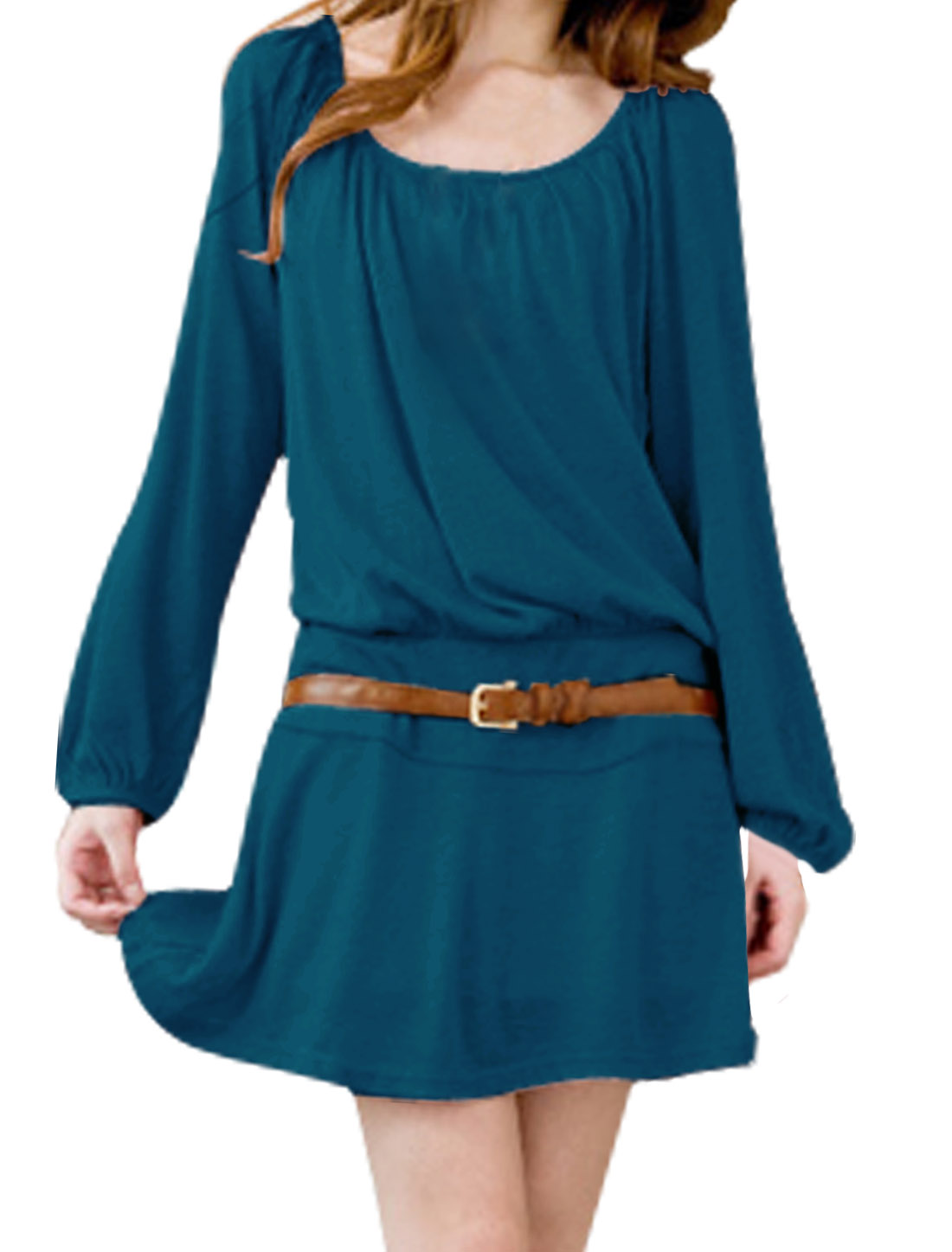 Women Long Raglan Sleeve Gathered Detail Sweet Dress w Belt Dark Turquoise M