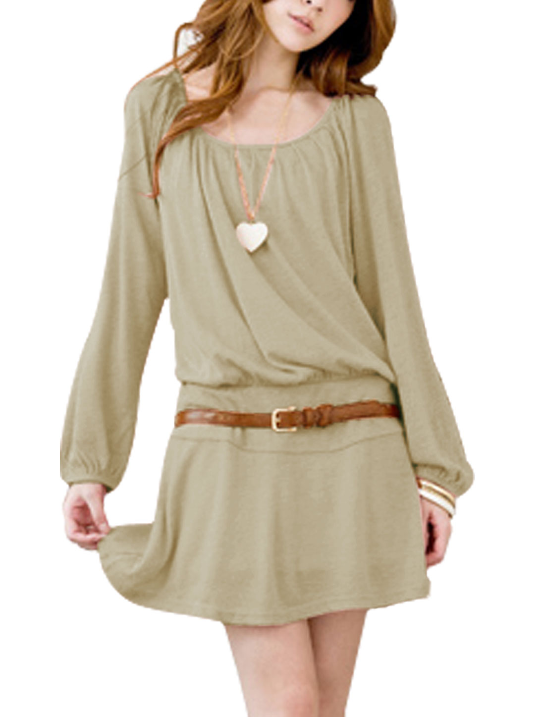 Women Long Raglan Sleeve Elastic Waist Sweet Dress w Belt Dark Khaki M