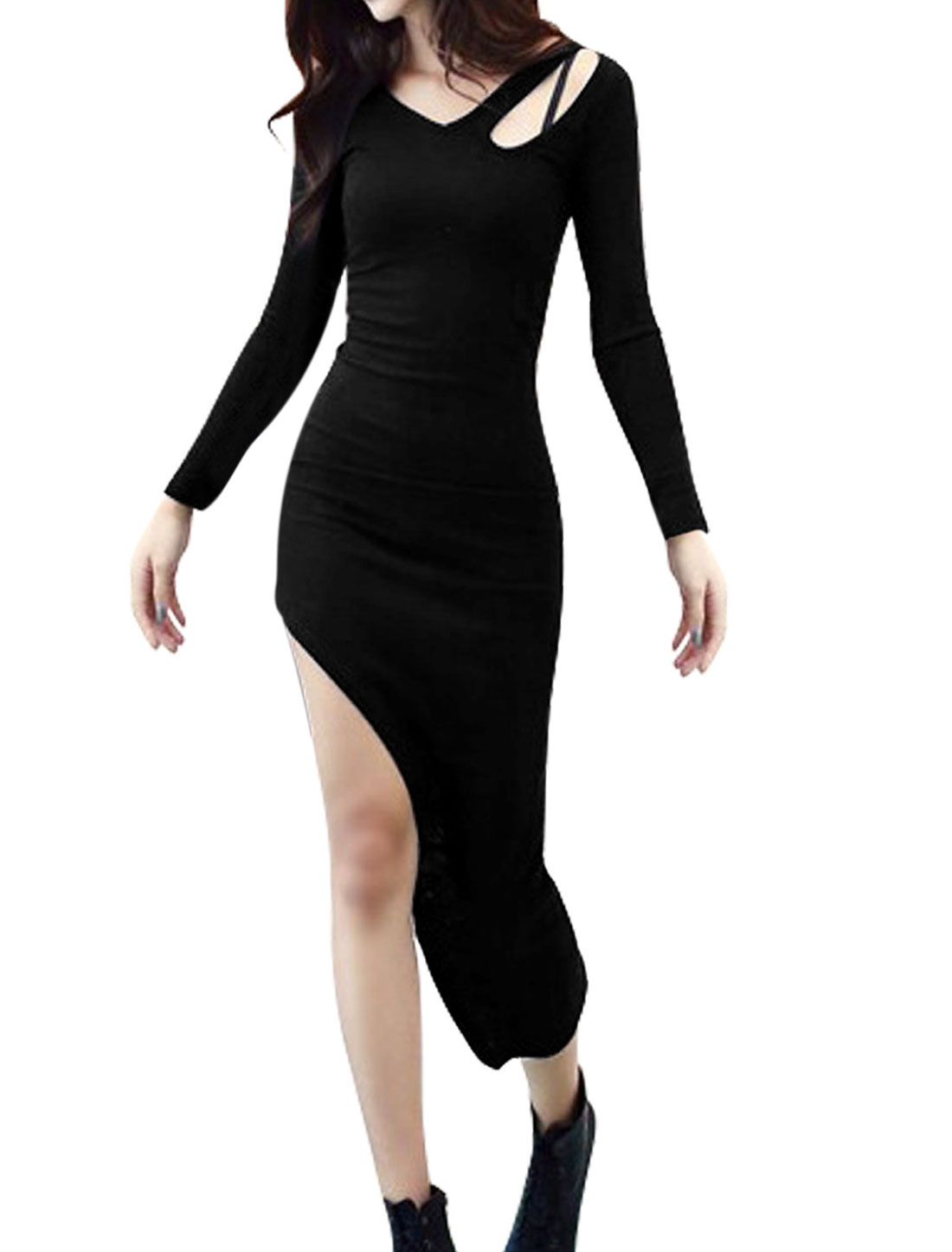 Women V Neck Asymmetric Hem Cut Out Front Sheath Dress Black XS