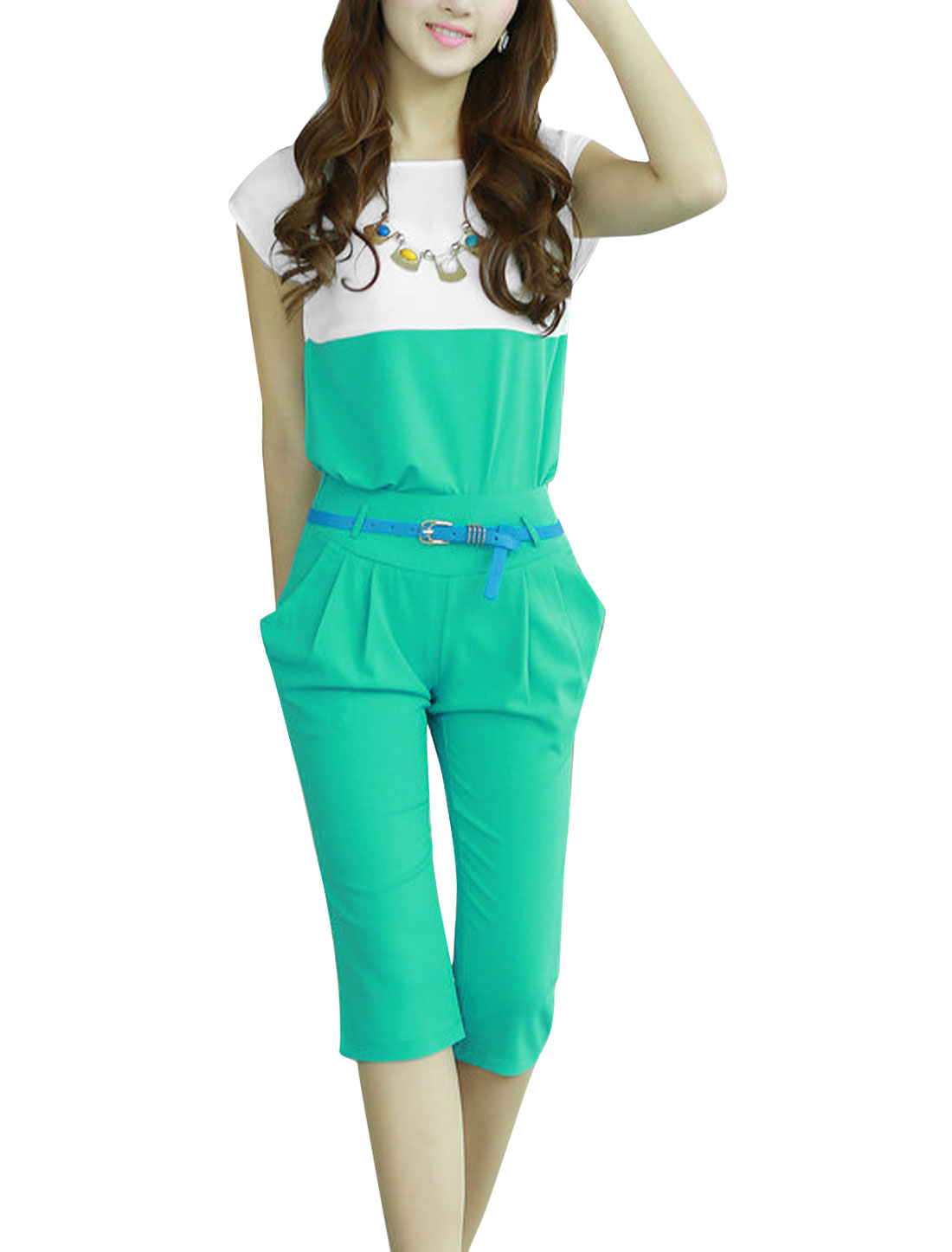 Lady Zipped Side Capris Pants w Belt w Contrast Color Top Green XS