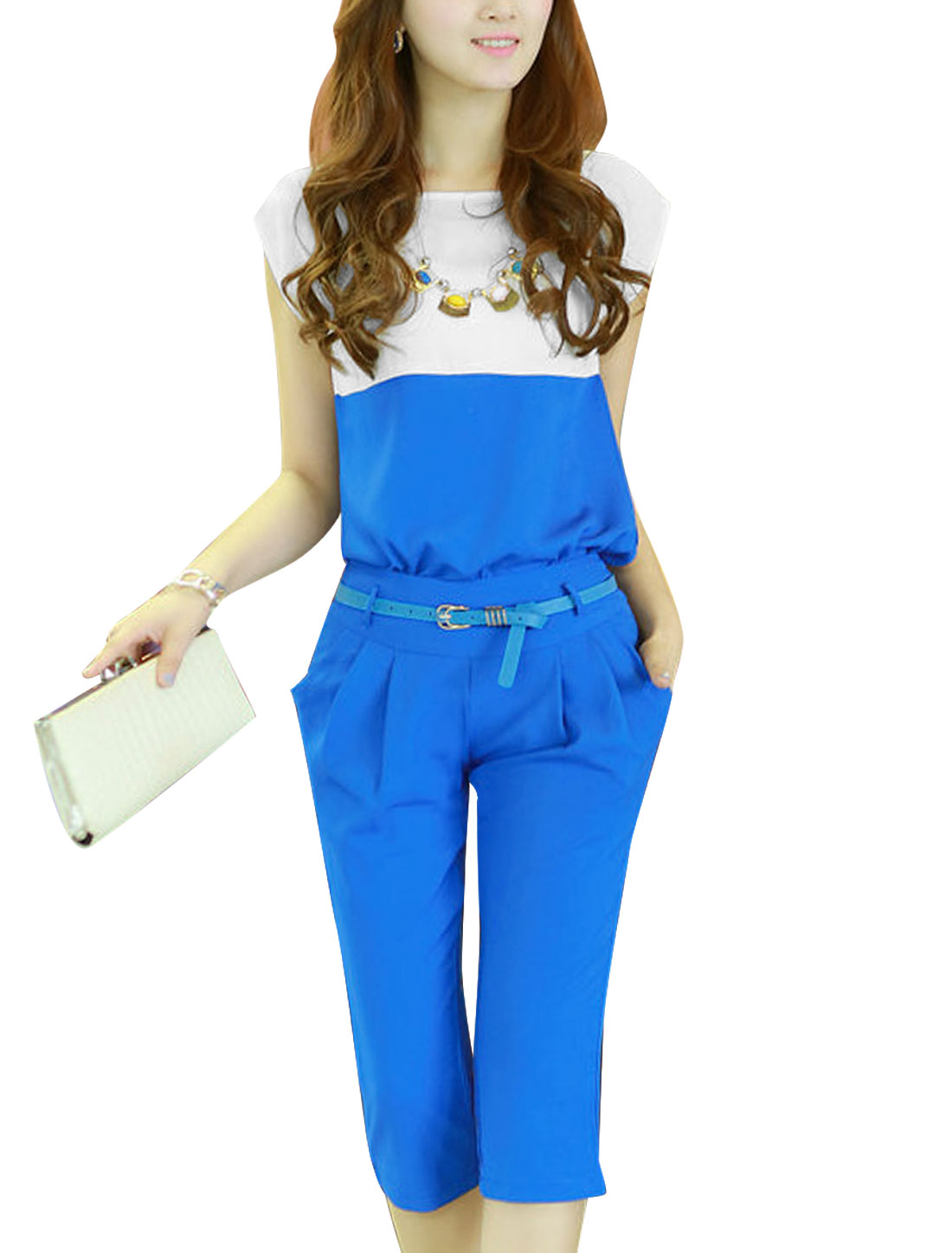 Lady Concealed Zipper Capris Pants w Belt w Colorblock Top Blue XS