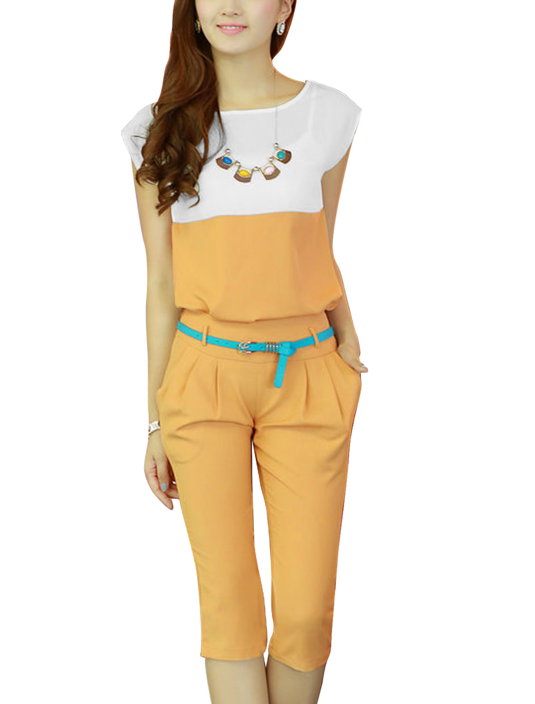 Lady Concealed Zipper Capris Pants w Belt w Round Neck Top Orange XS