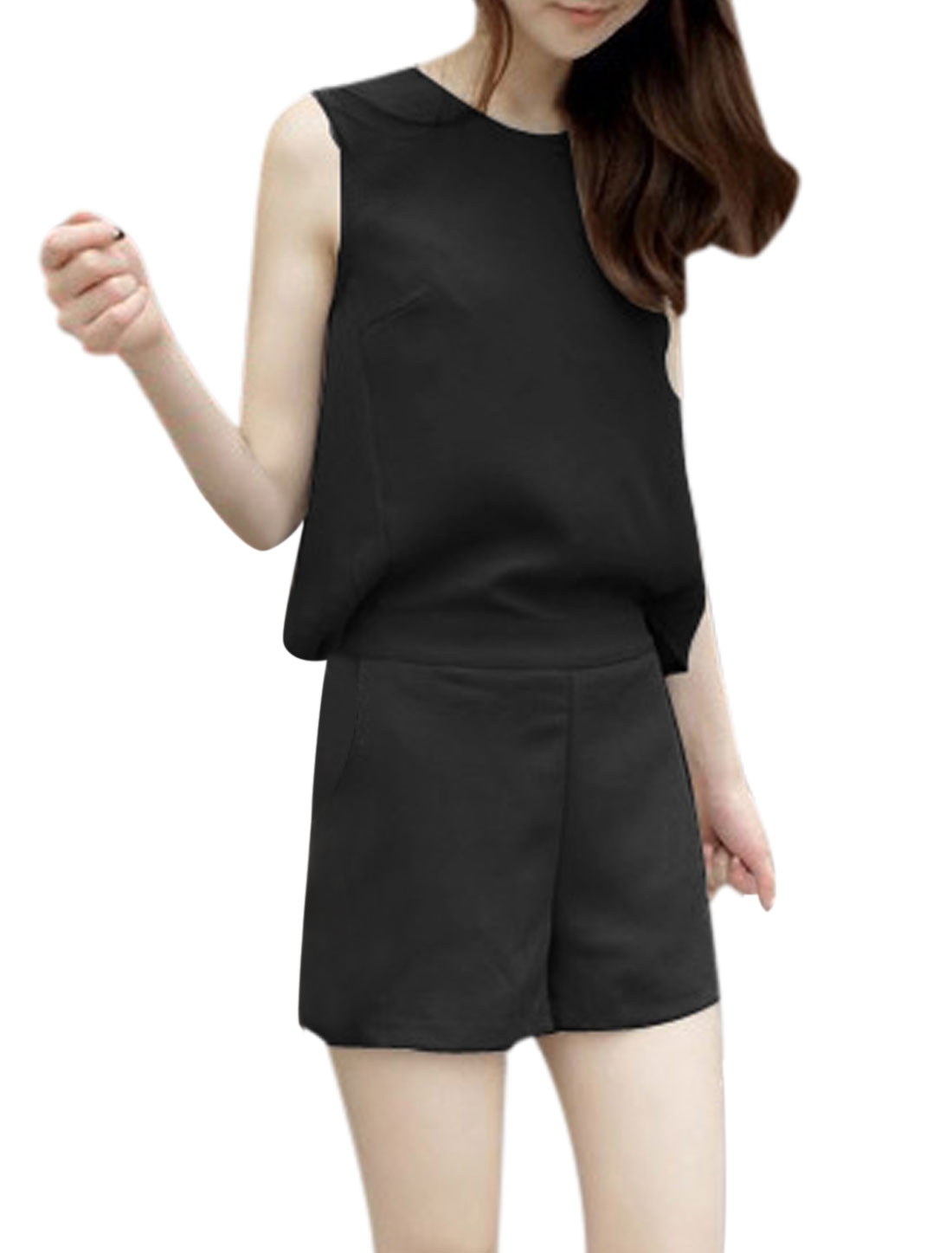 Lady Round Neck Zipper Back Elastic Waist Cut Out Design Romper Black XS