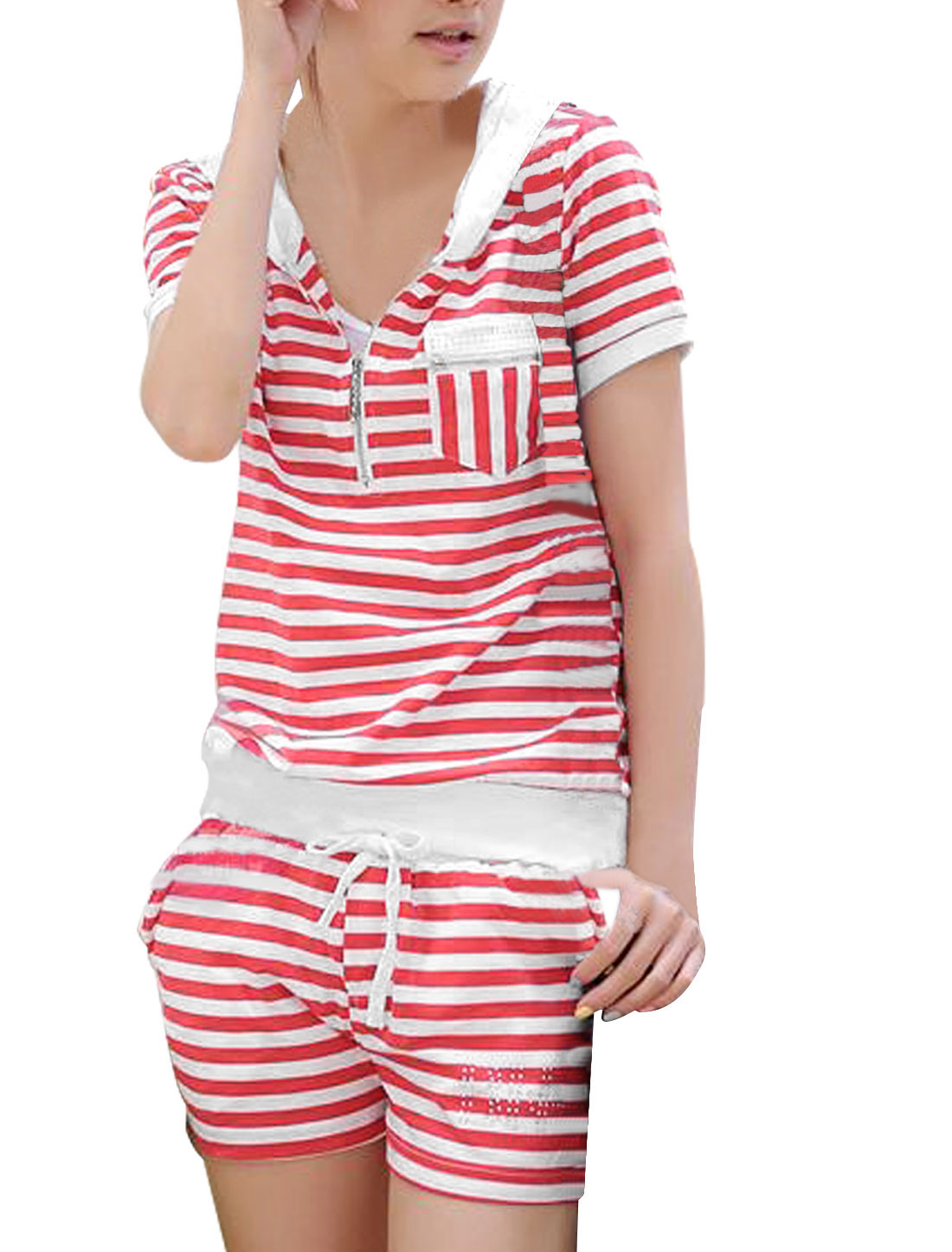 Women Bust Pocket Thin Hooded Top w Ribbed Waist Shorts Red White XS