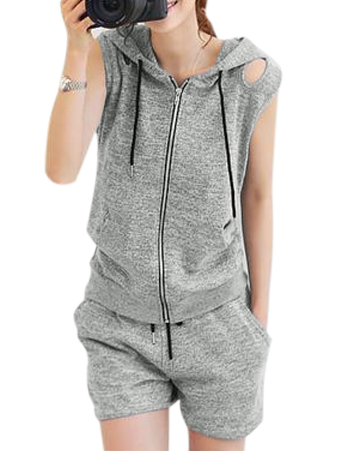 Lady Drawstring Hooded Cut Out Design Zip Up Top w Shorts Gray XS
