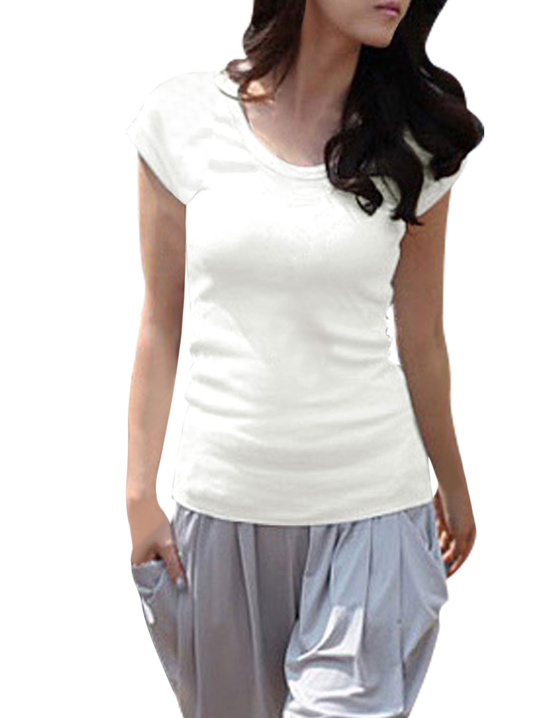 Lady Pullover U Neck Short Sleeve Elastic Casual T-Shirt White S