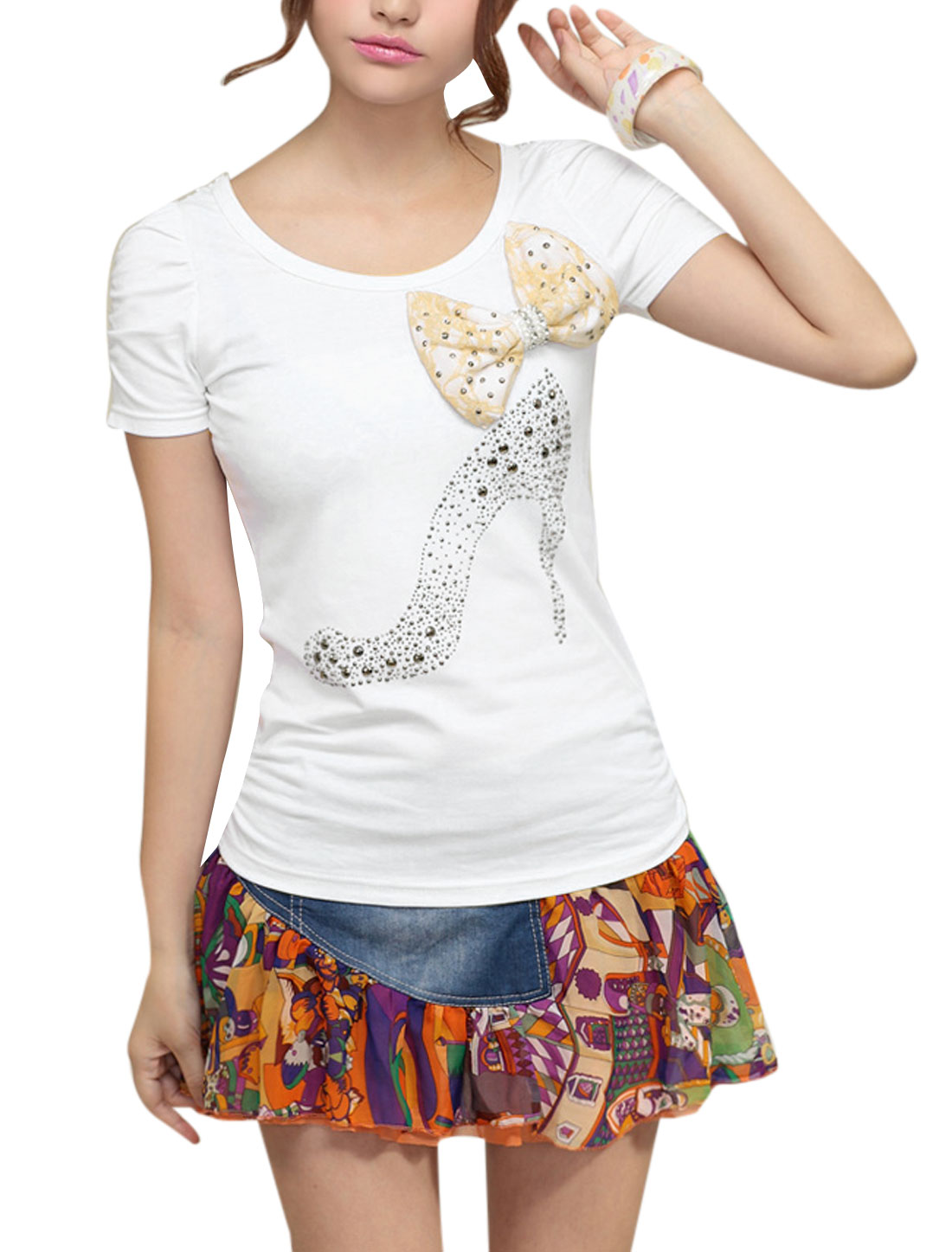 Lady Round Neck High Heels Pattern Bowknot Decor T-Shirt White S