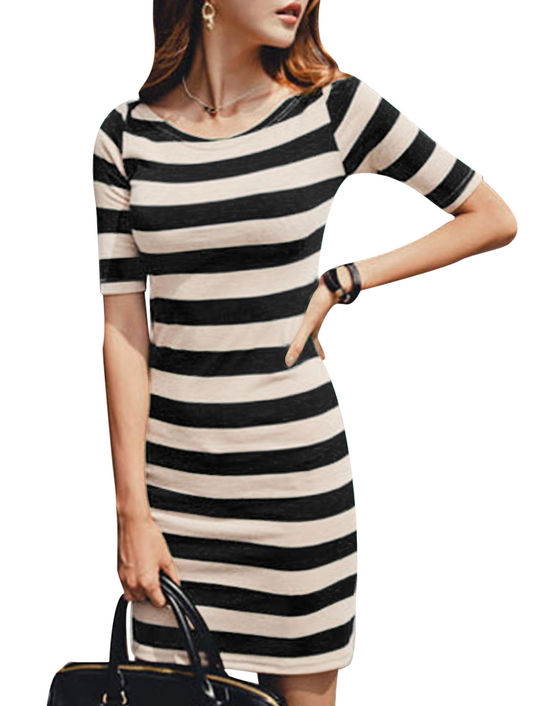 Lady Round Neck Short Sleeve Stripes Colorblock Dress Black M