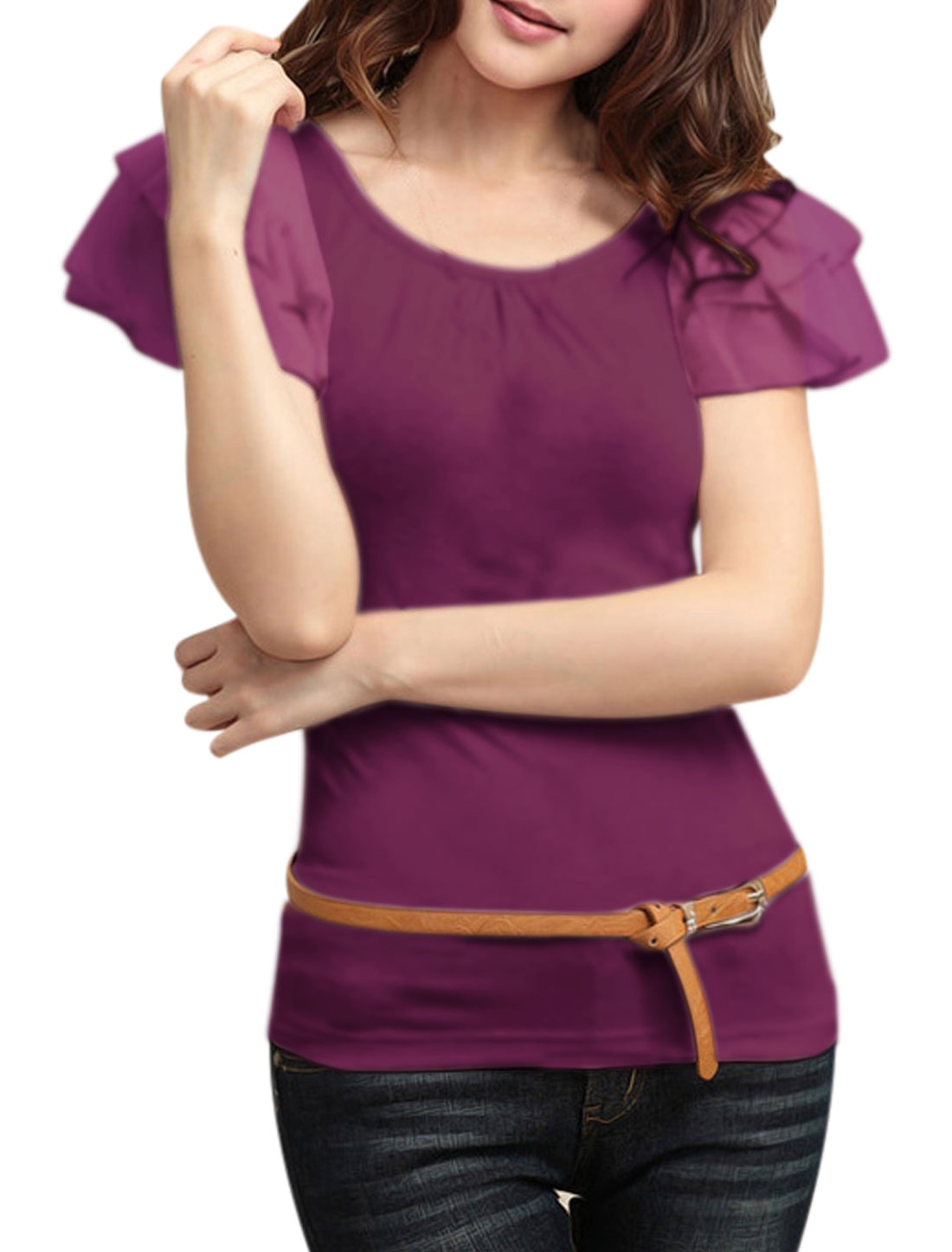 Women U Neck Layered Flouncing Short Sleeve Basic Tee Purple S