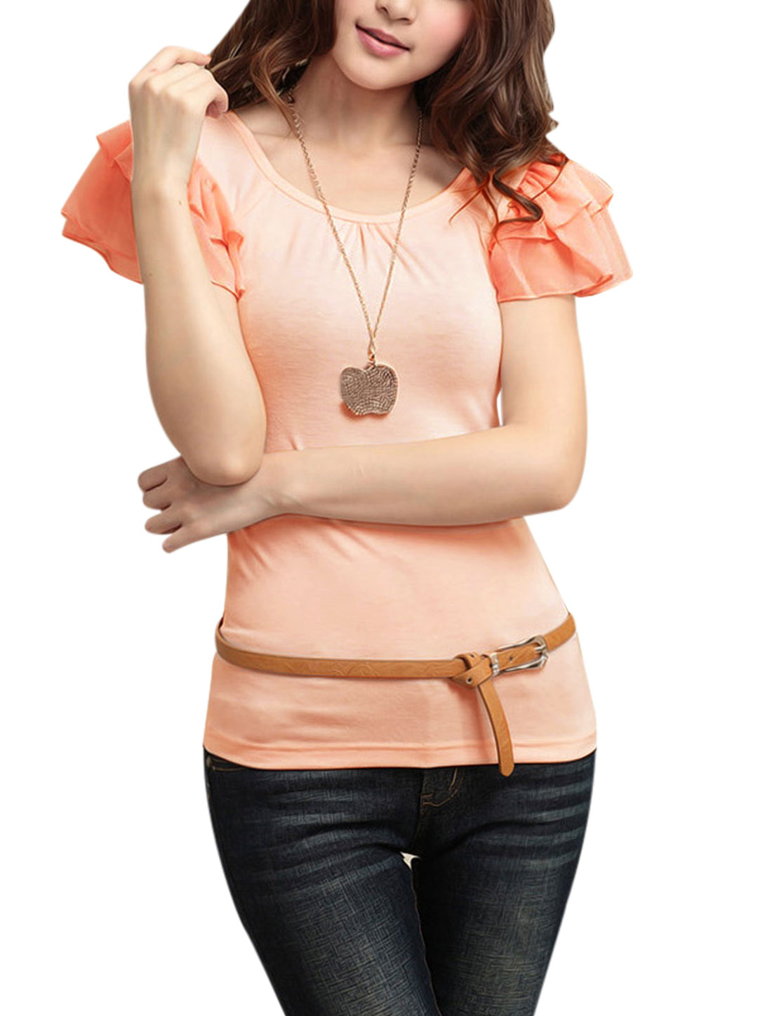 Women Summer Layered Flouncing Short Sleeve Basic Tee Light Salmon S