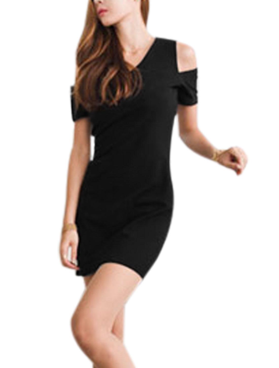 Women V Neck Short Sleeve Cut Out Shoulder Sexy Dress Black XS