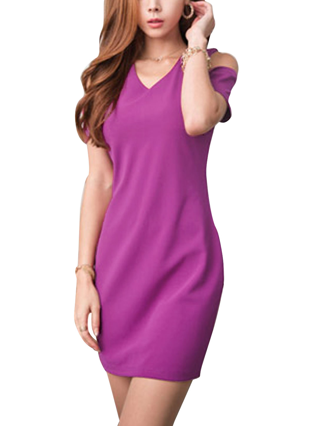 Women V Neck Short Sleeve Cut Out Shoulder Casual Dress Purple XS