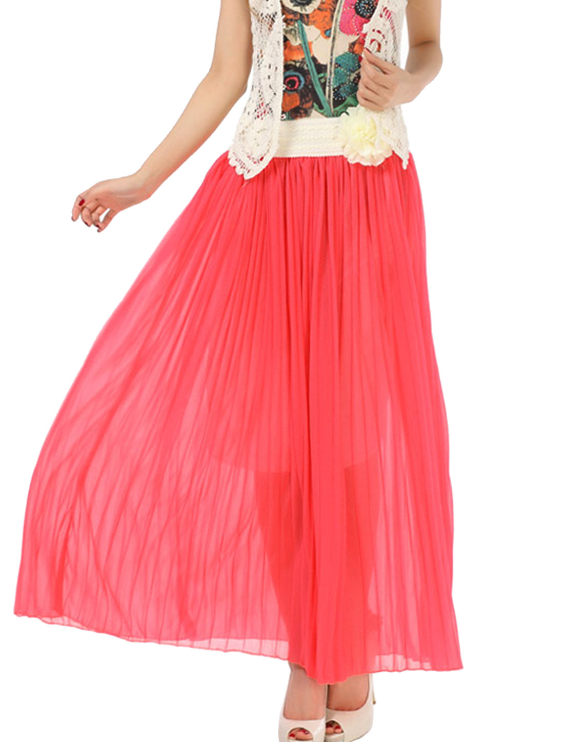Lady Pleated Removable Flower Decor Shiny Lining Skirt Watermelon Red S