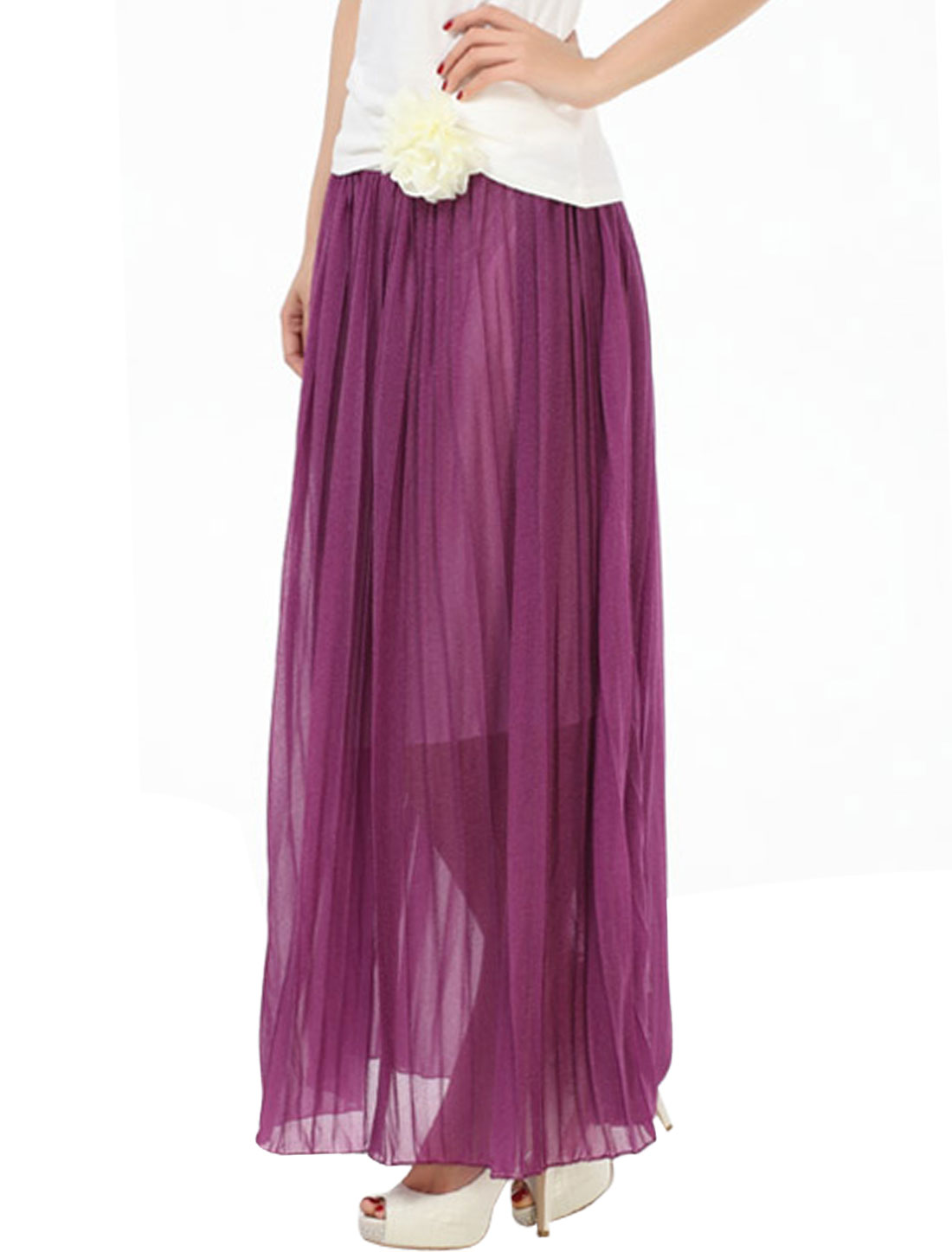 Lady Pleated Removable Flower Decor Lining Skirt Purple S