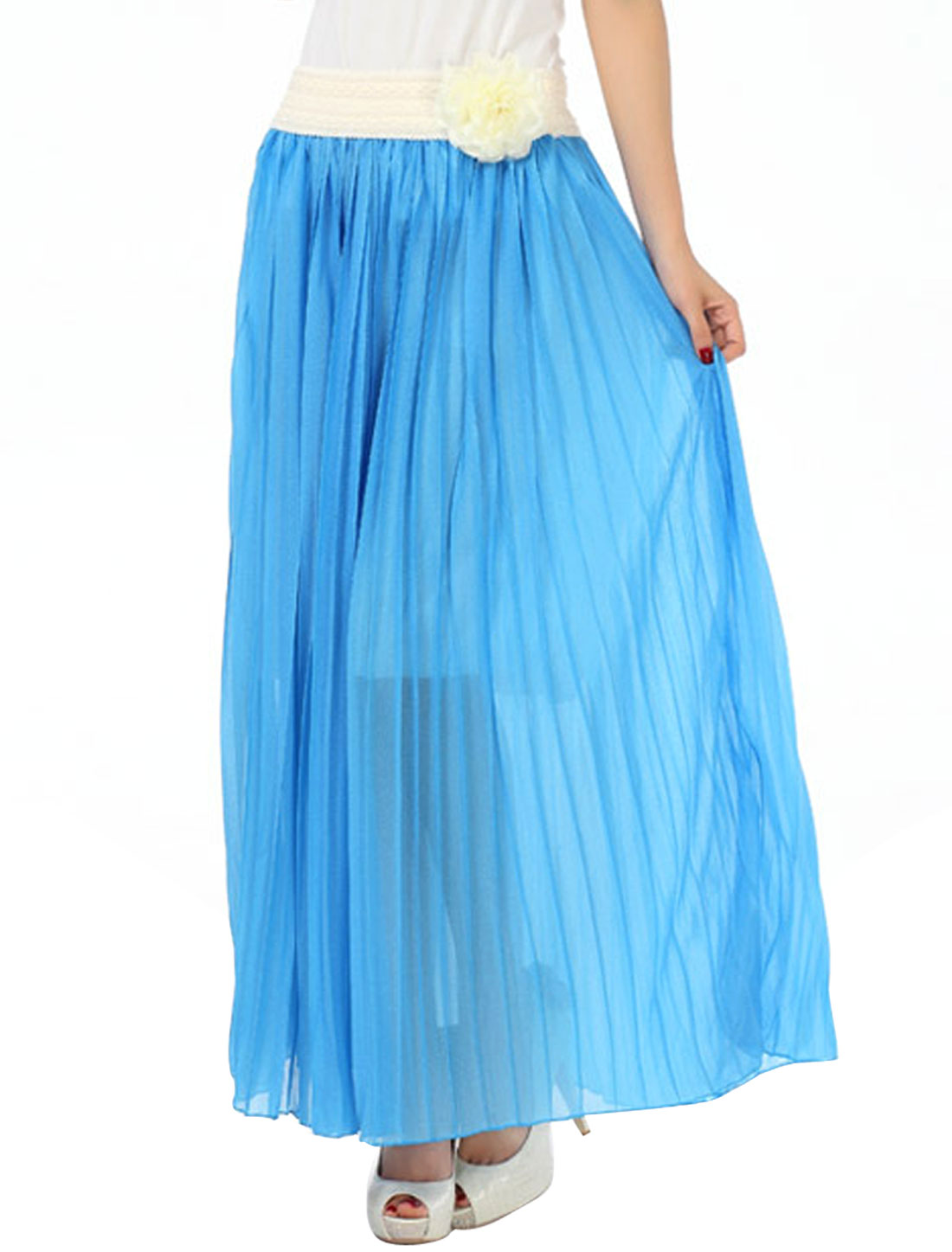 Lady Pleated Removable Flower Decor Elastic Waist Skirt Blue S