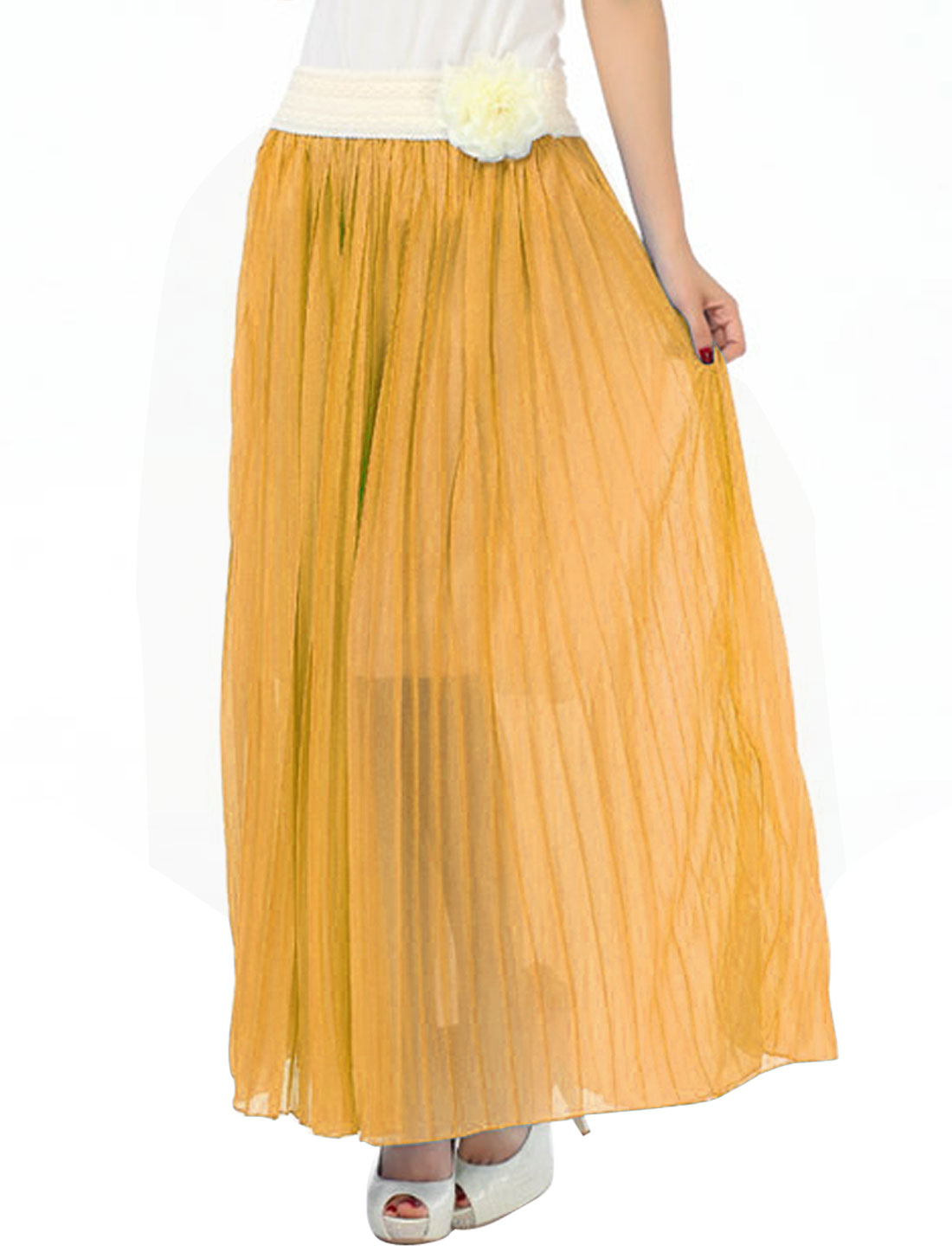 Lady Leisure Removable Flower Decor Lining Skirt Dark Yellow S