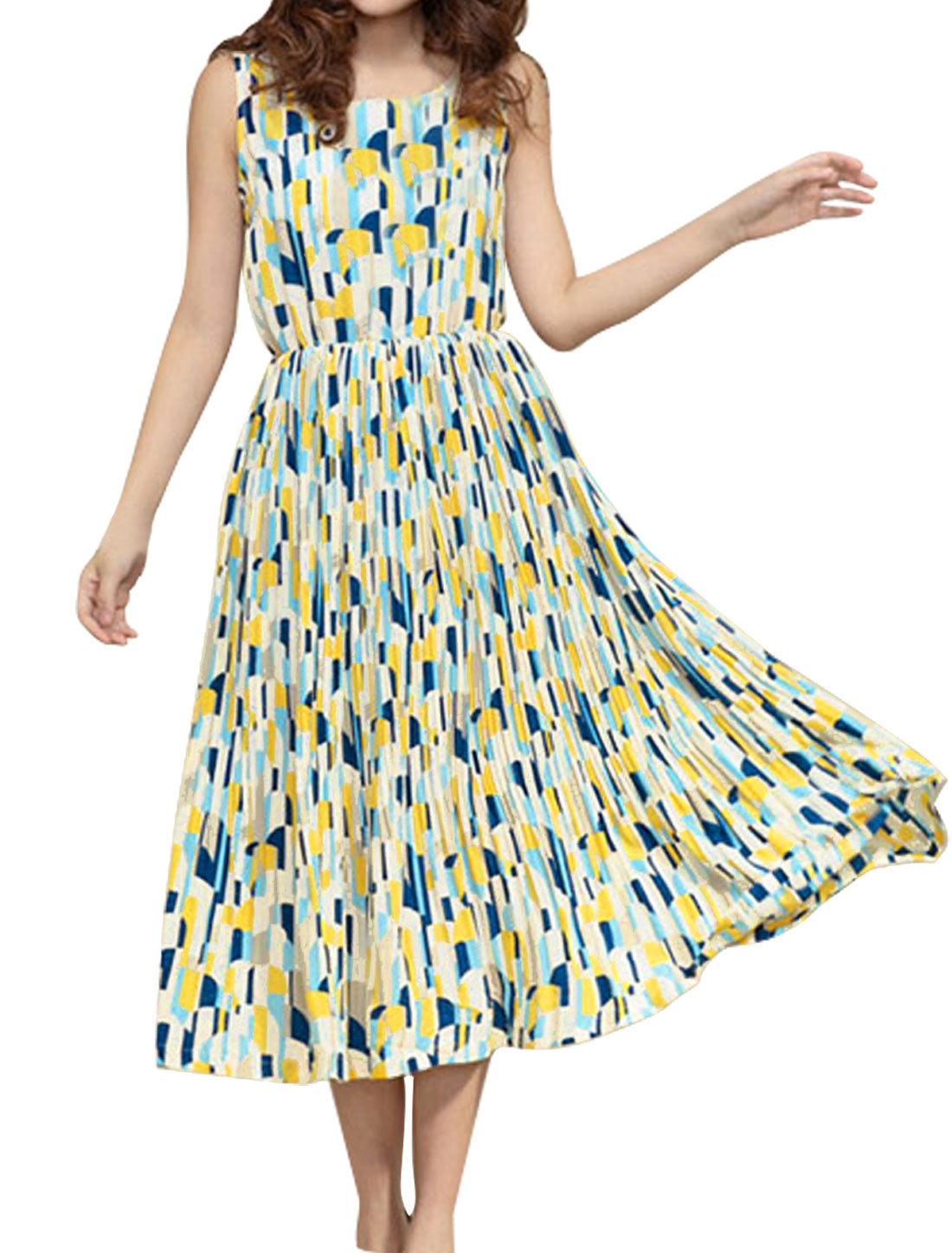 Ladies Geometric Prints Mid-Calf Sweet Tank Dress Yellow Light Blue M