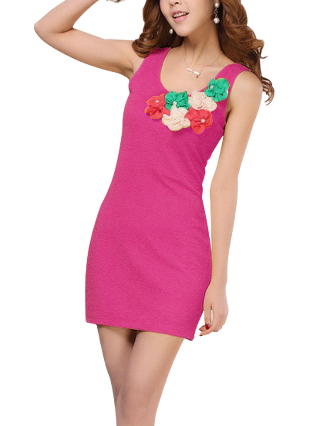 Lady Sleeveless Flower Decor Fake Pearls Decor Dress Fuchsia M