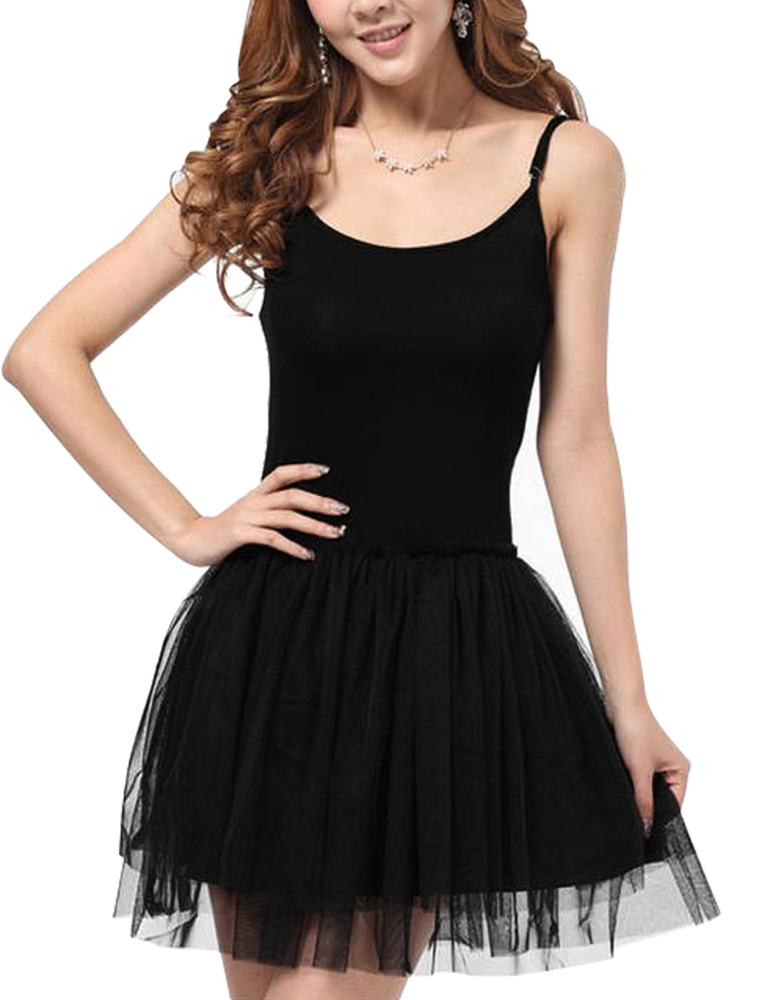 Lady Adjustable Spaghetti Strap Mesh Patchwork Skater Dress Black S