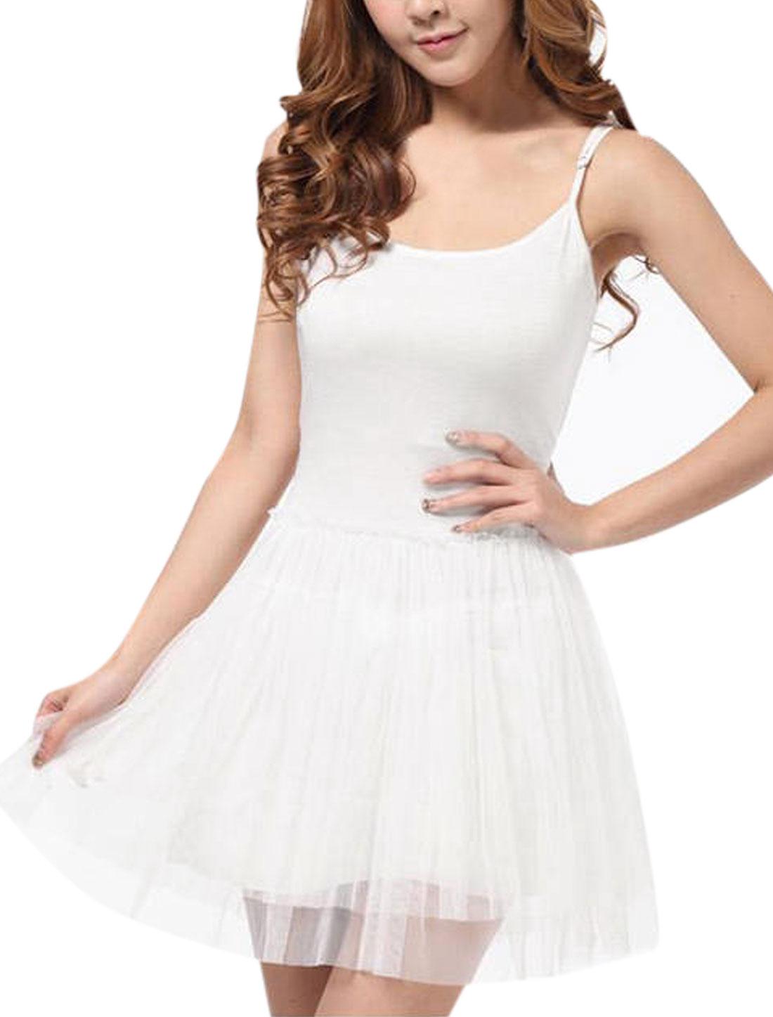 Lady Adjustable Spaghetti Strap Mesh Spliced Skater Dress White S