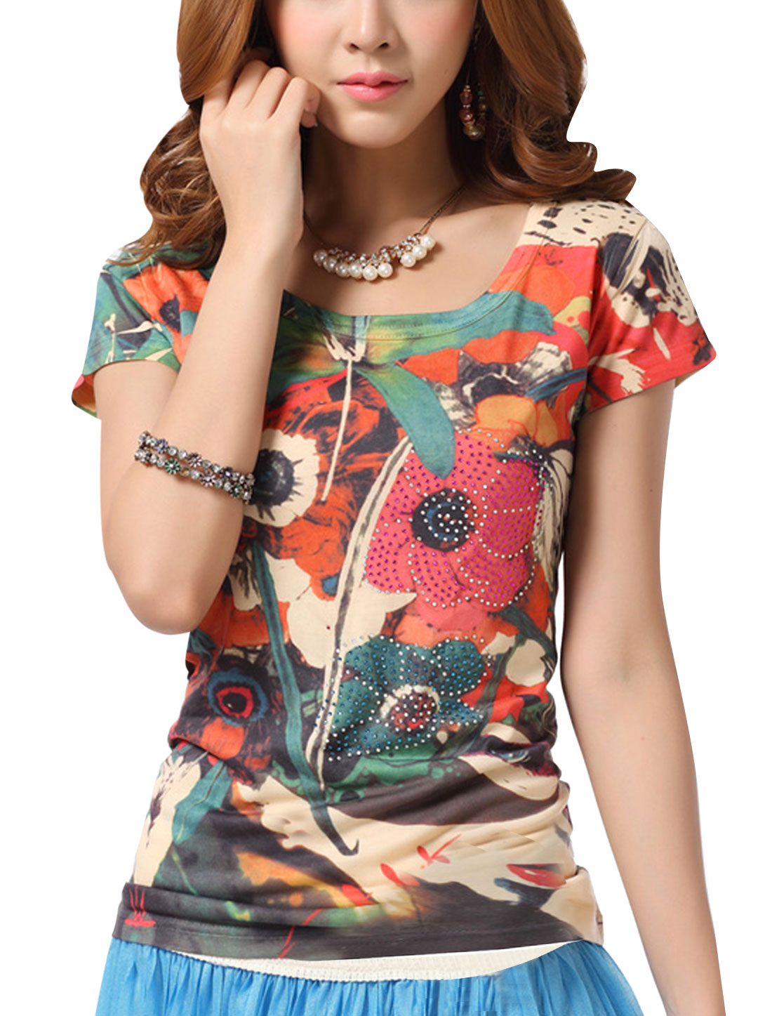 Lady Short Sleeve Floral Prints Rhinestone Decor T-Shirt Multicolor S