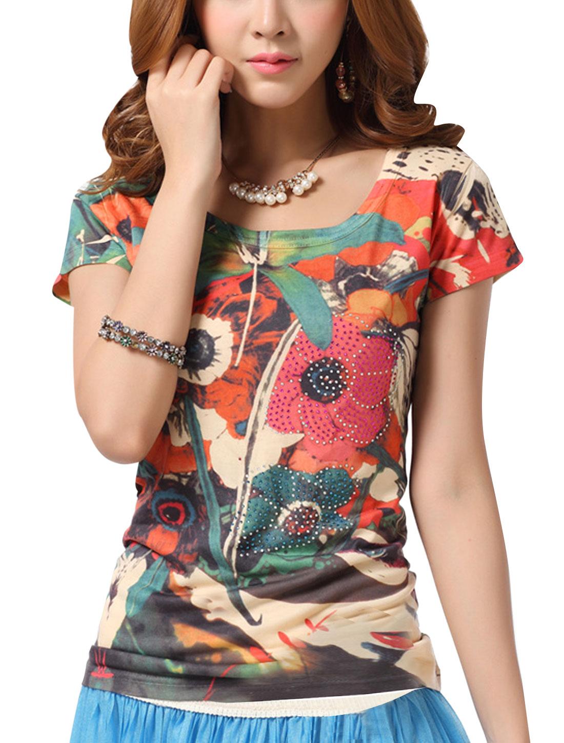 Lady Short Sleeve Floral Prints Rhinestone Decor T-Shirt Multicolor S