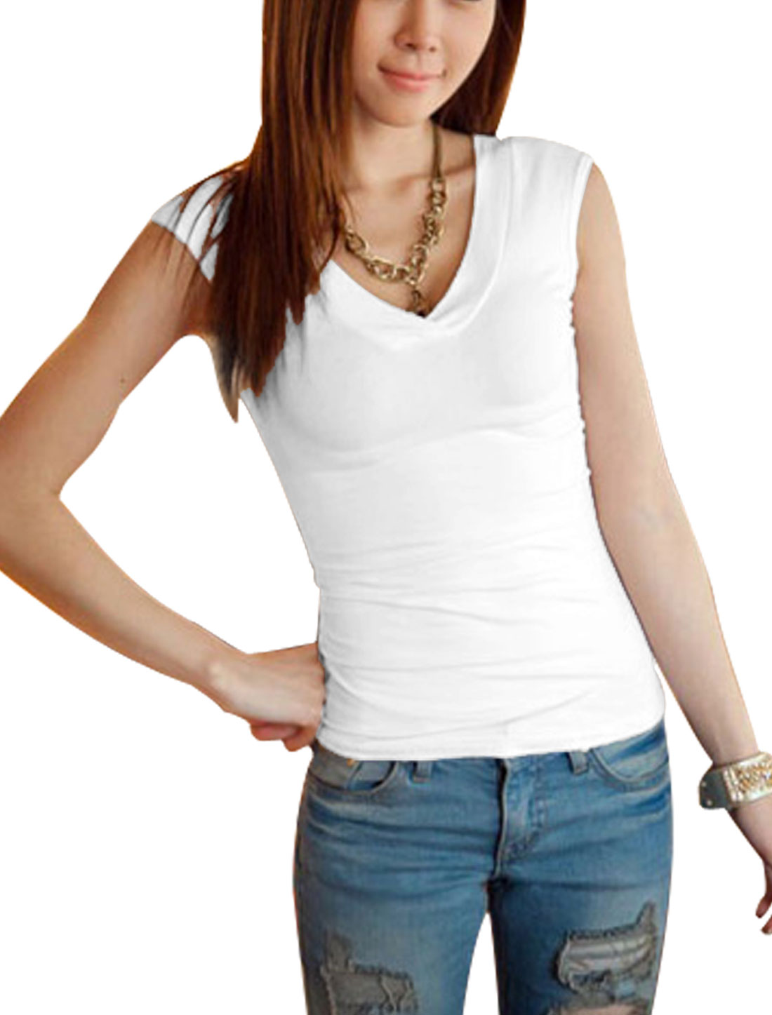 Lady Summer Deep V Neck Sleeveless Skiny T-Shirt White S