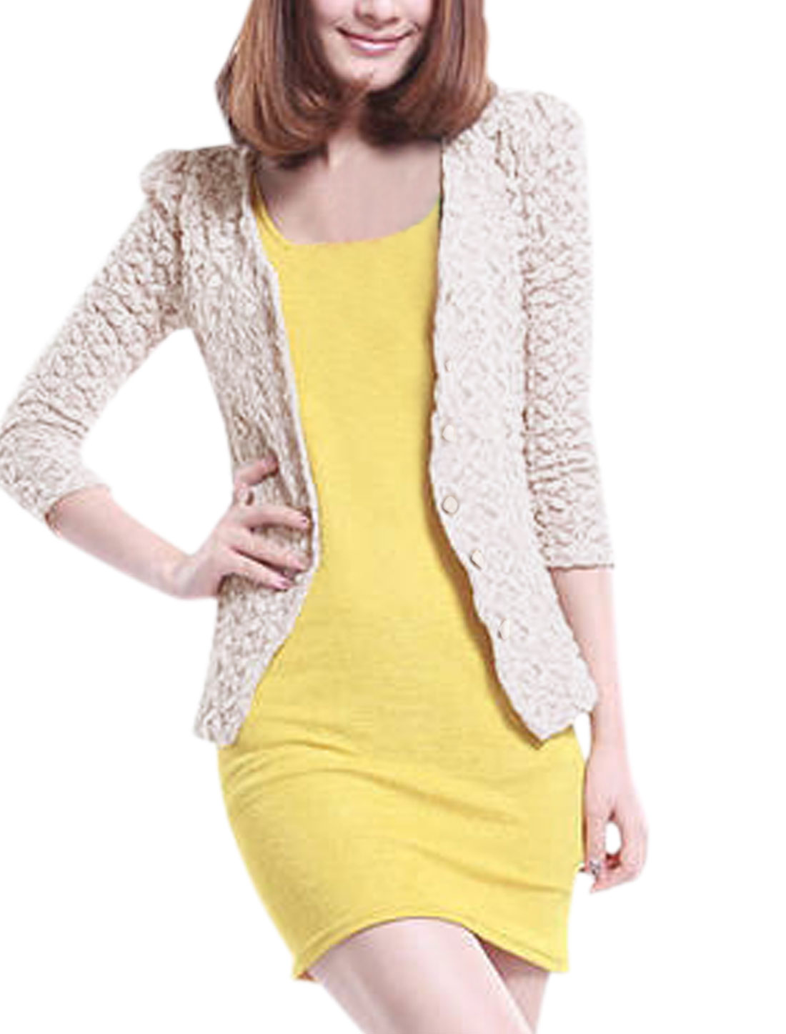 Lady 3/4 Sleeve Padded Shoulder Single Breasted Lace Blazer Beige XS