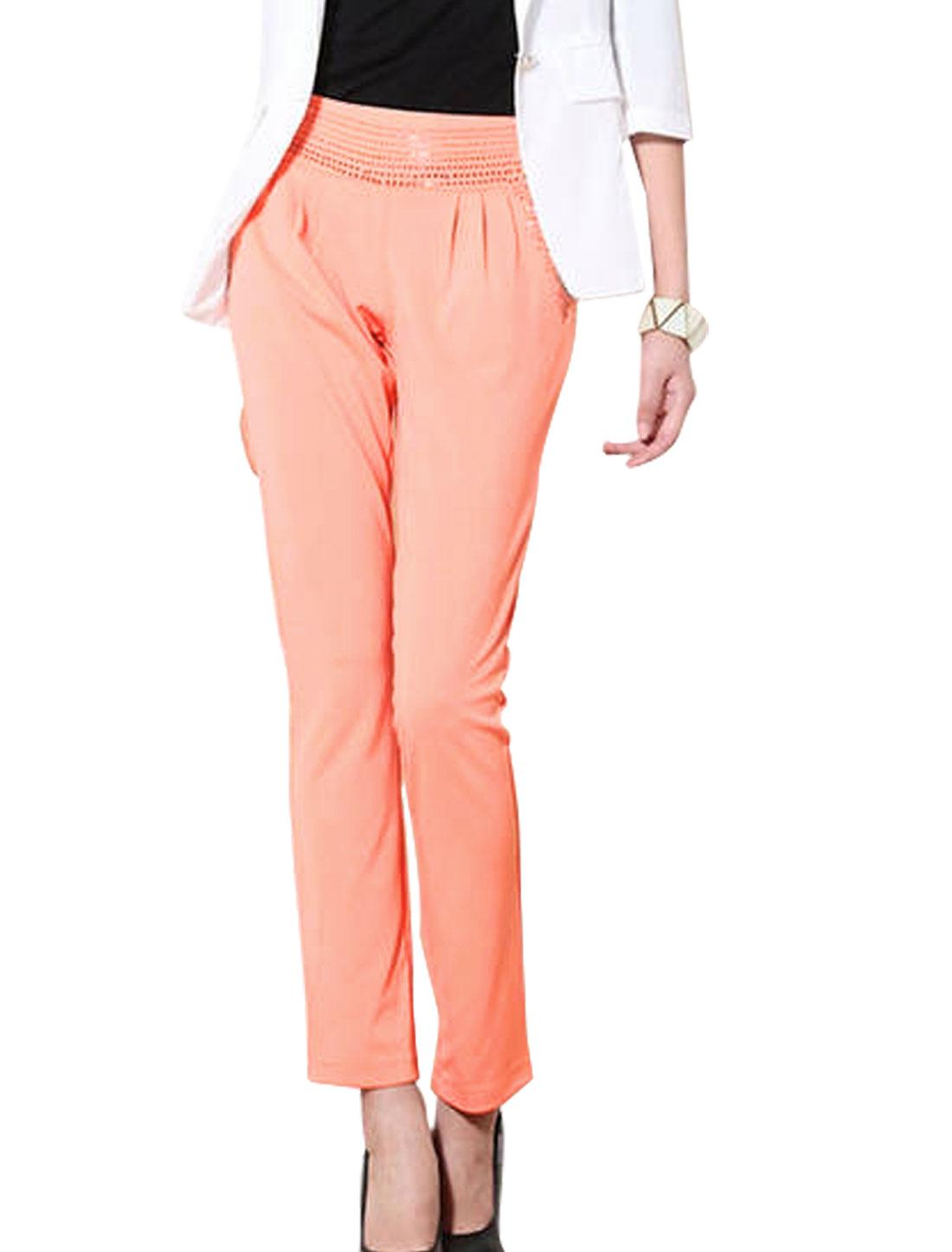 Women Slant Pockets Rhinestone Decor Soft Leisure Pants Light Pink S