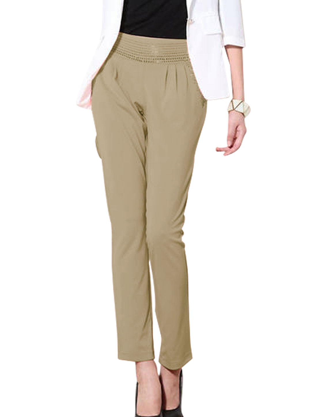 Women Fake Welt Pockets Back Rhinestone Decor Soft Pants Dark Khaki S