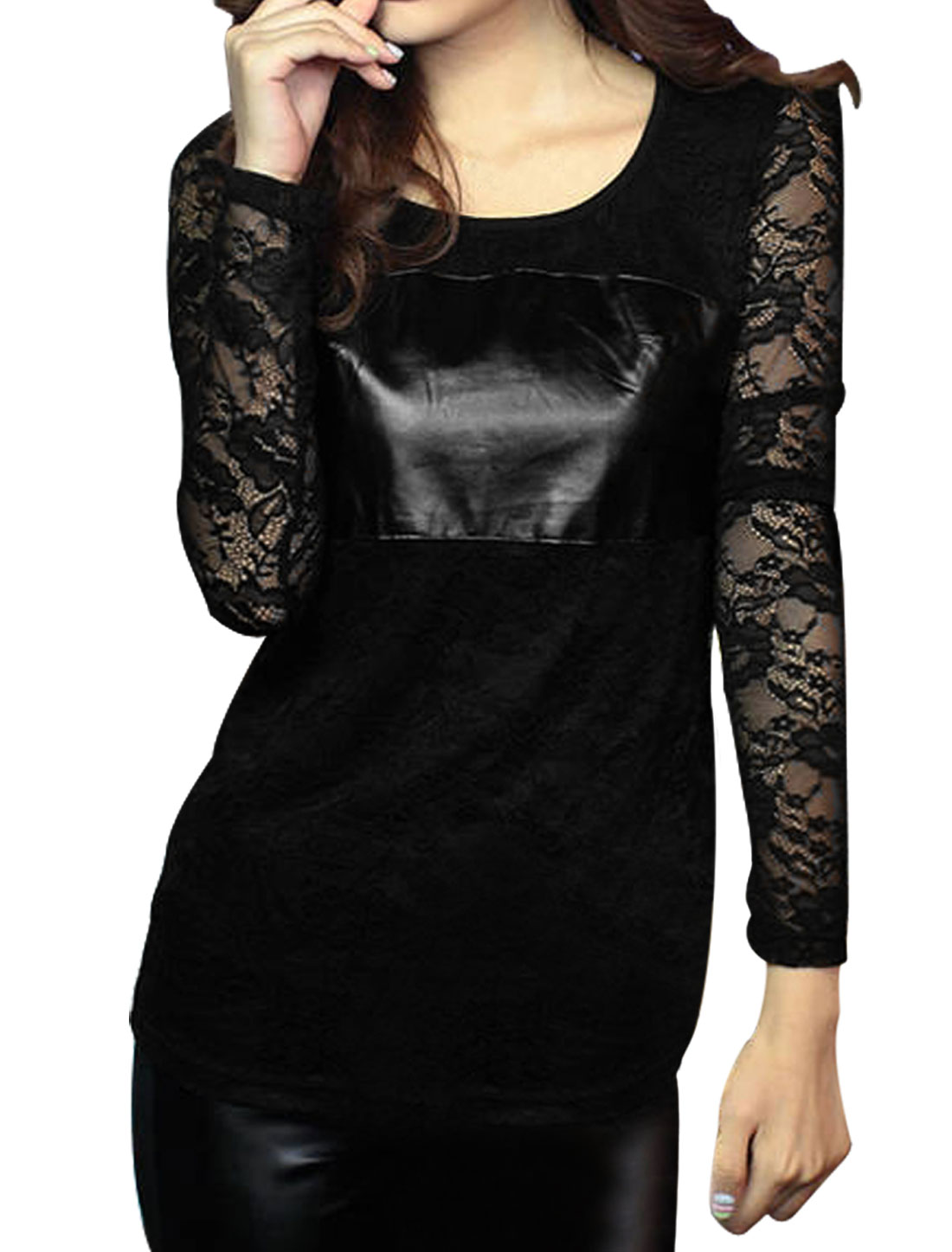 Lady Long Sleeve Faux Leather Patchwork Lining Lace Top Black S