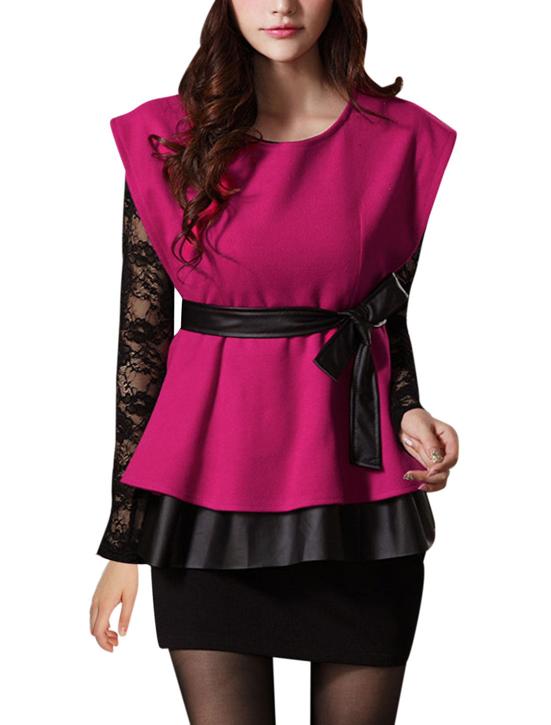 Lady Faux Leather Panel Peplum Top w Waist Strap Fuchsia S